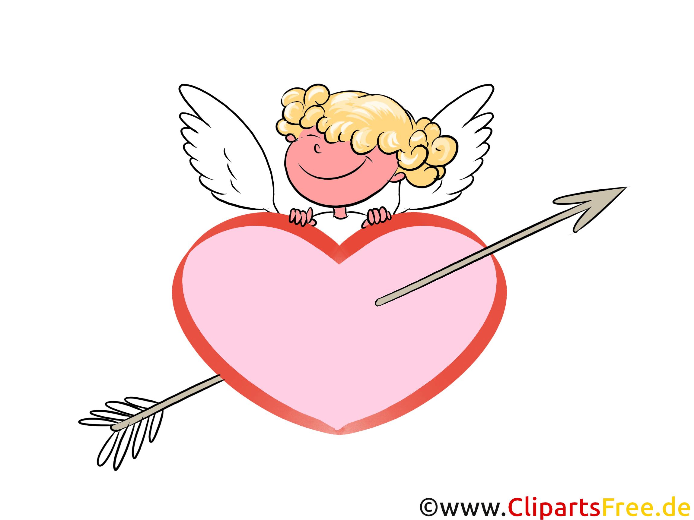 Herz mit Pfeil und Cupido Clipart