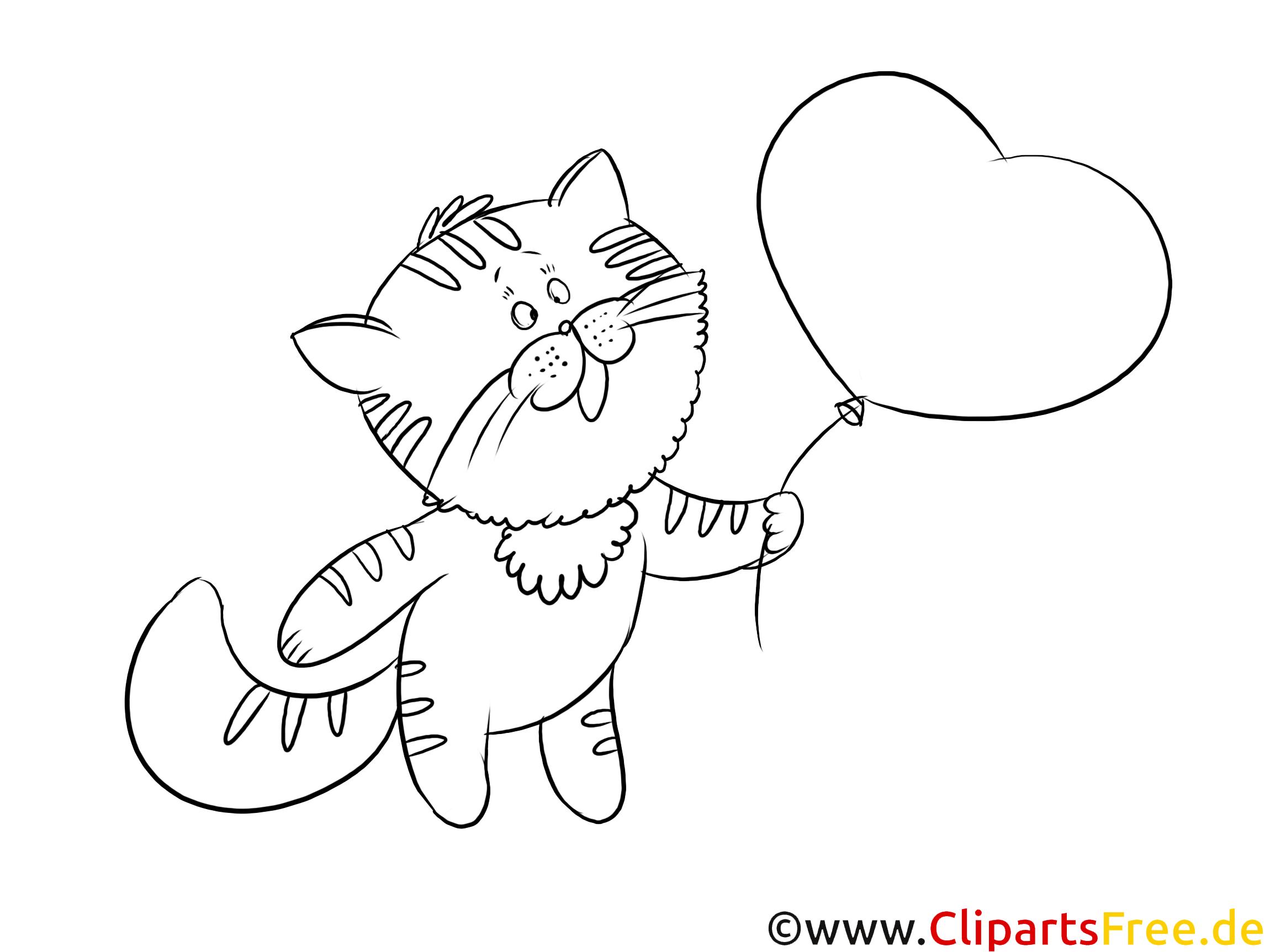 Zeichnung Kater mit Herz-Luftballon zum Drucken
