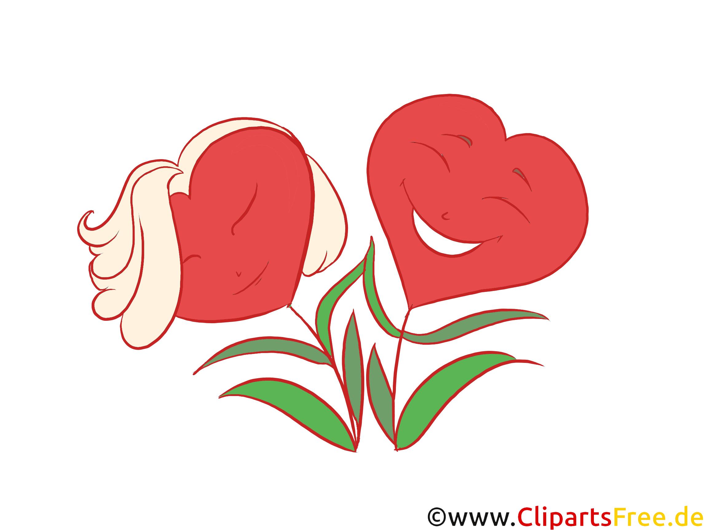 Zwei Herzen als Blumen stilisiert Bild, Grafik, Clipart