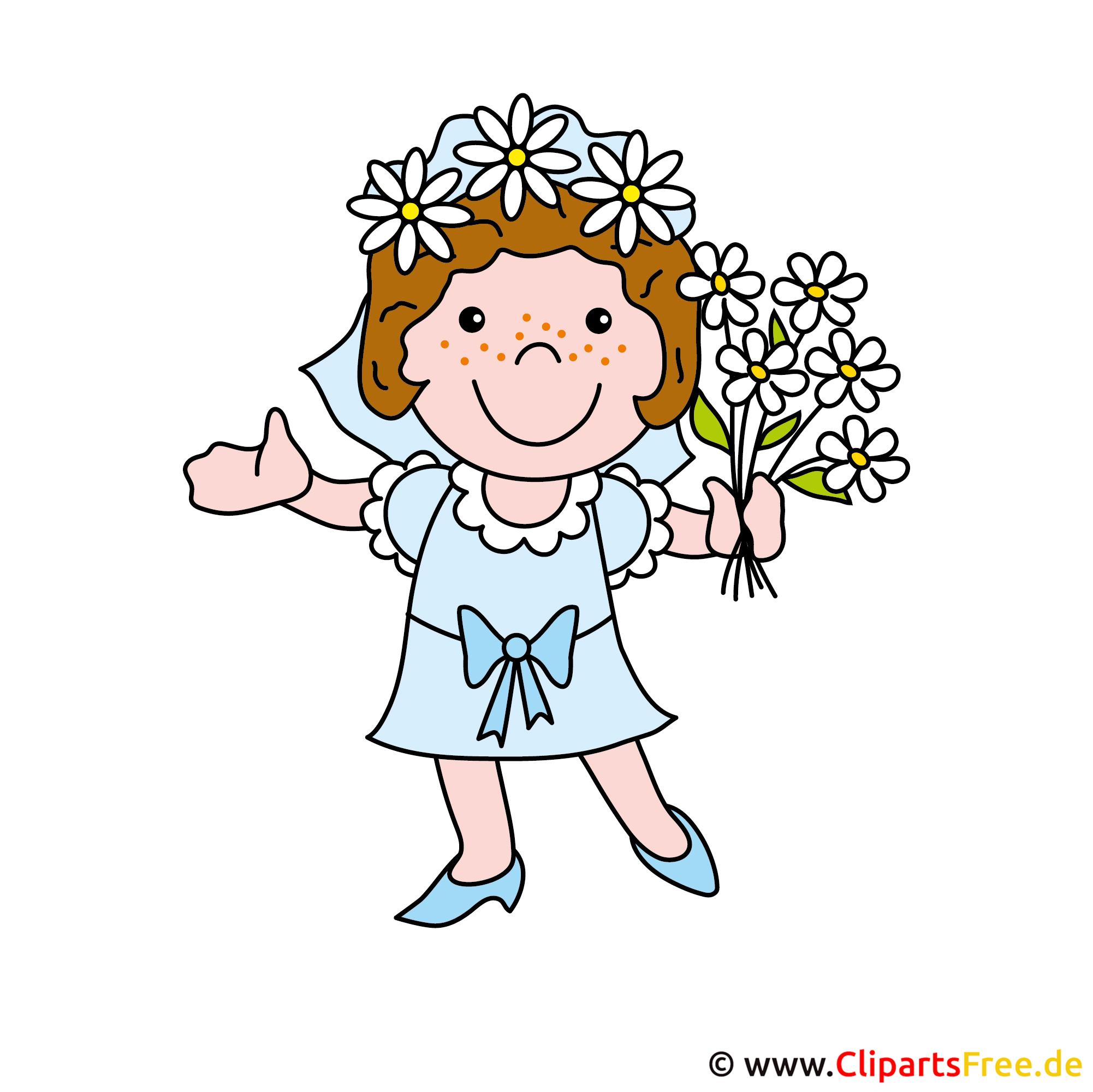 Braut mit Blumenstrauss Bild Cliparten gratis