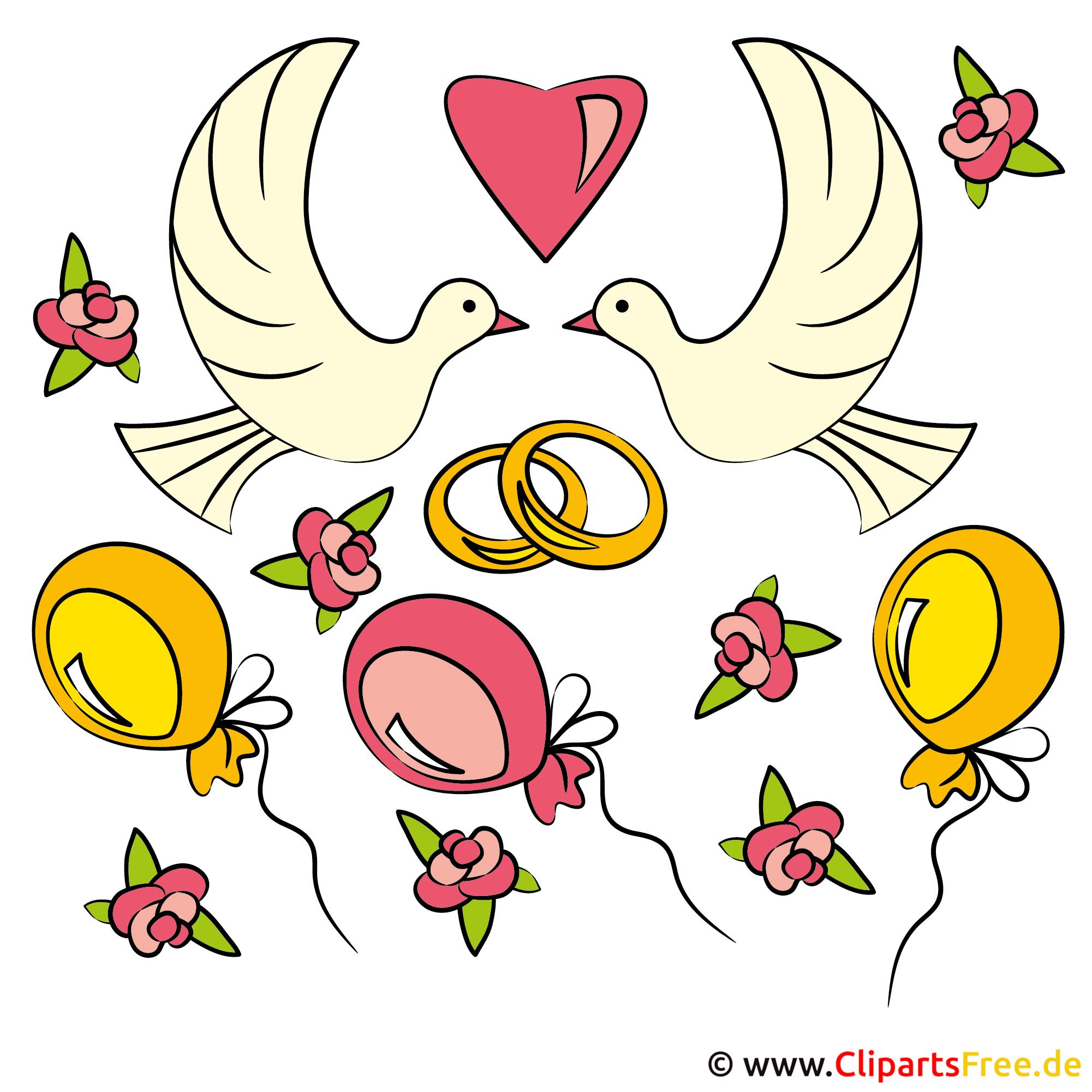Clipart Glückwunsch zur Hochzeit kostenlos