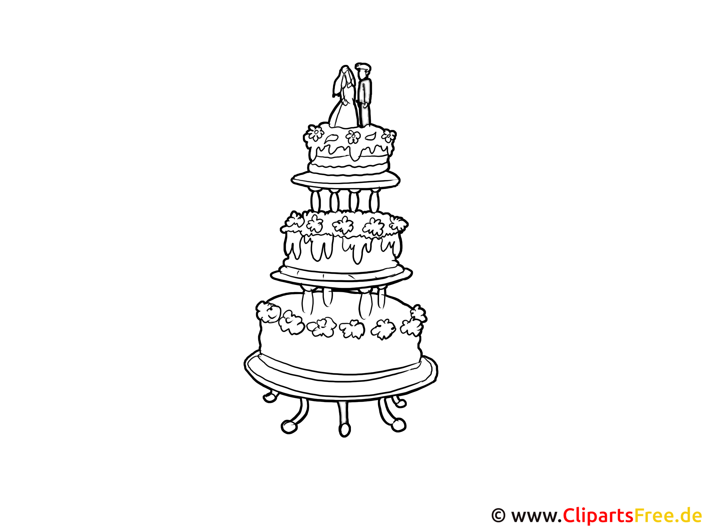 Kleurplaat 50 Gratis Clipart Hochzeitstorte