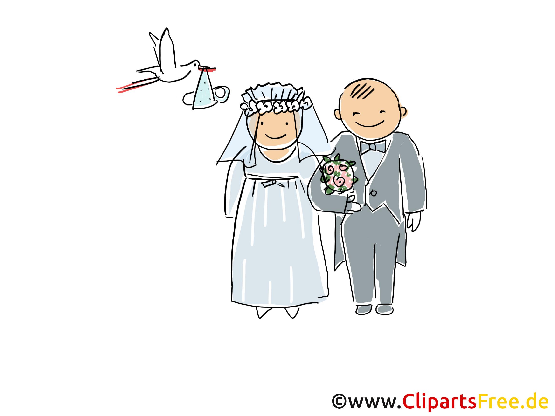 Hochzeit Cartoon, Clipart, Bild, Illustration