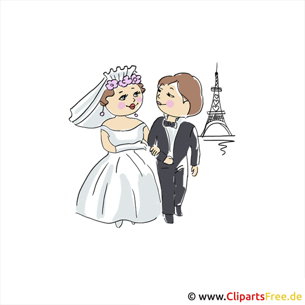 Hochzeit in Paris Clipart-Bild