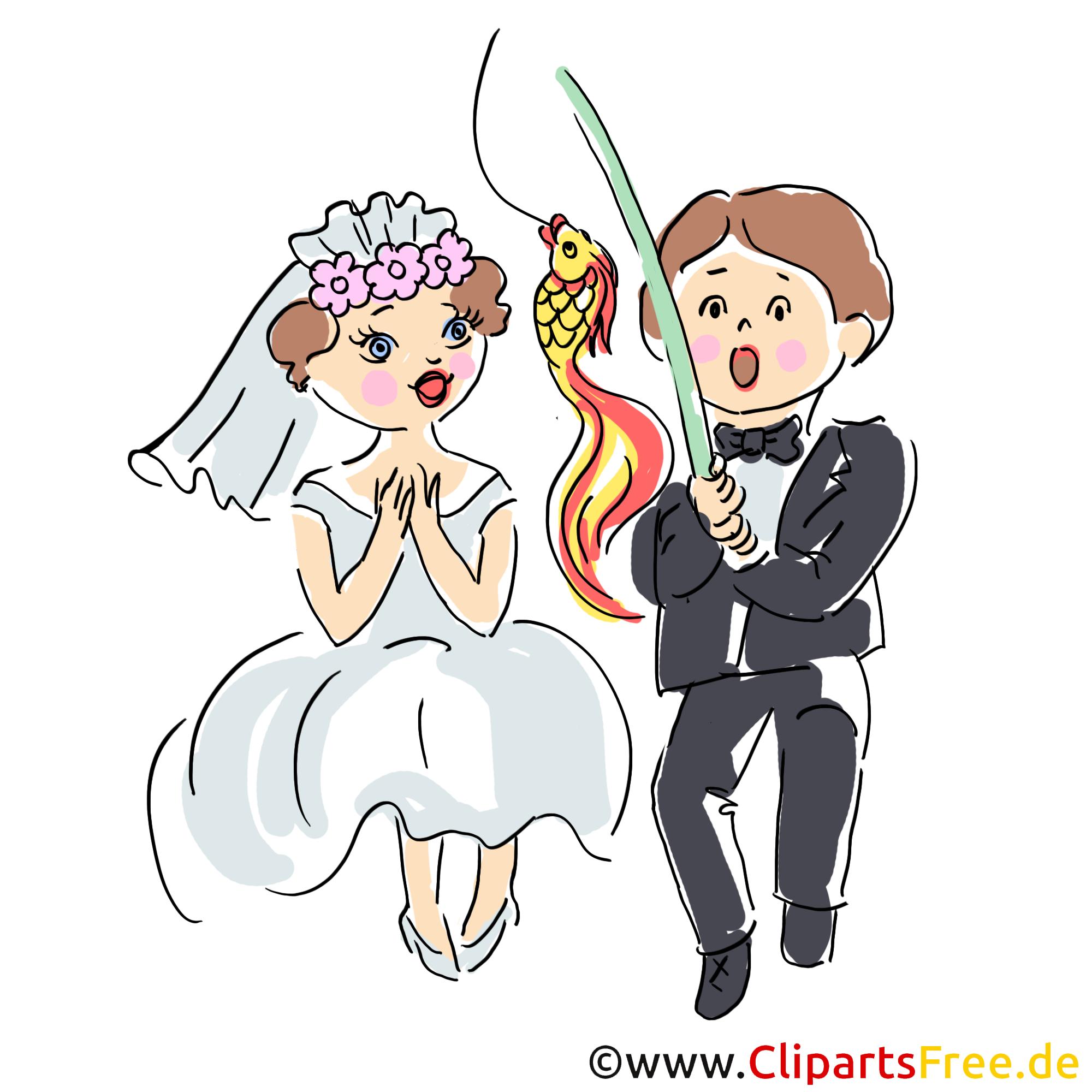 Hochzeitskarte Brautpaar hat Goldfisch geangelt Clipart, Illustration, Bild