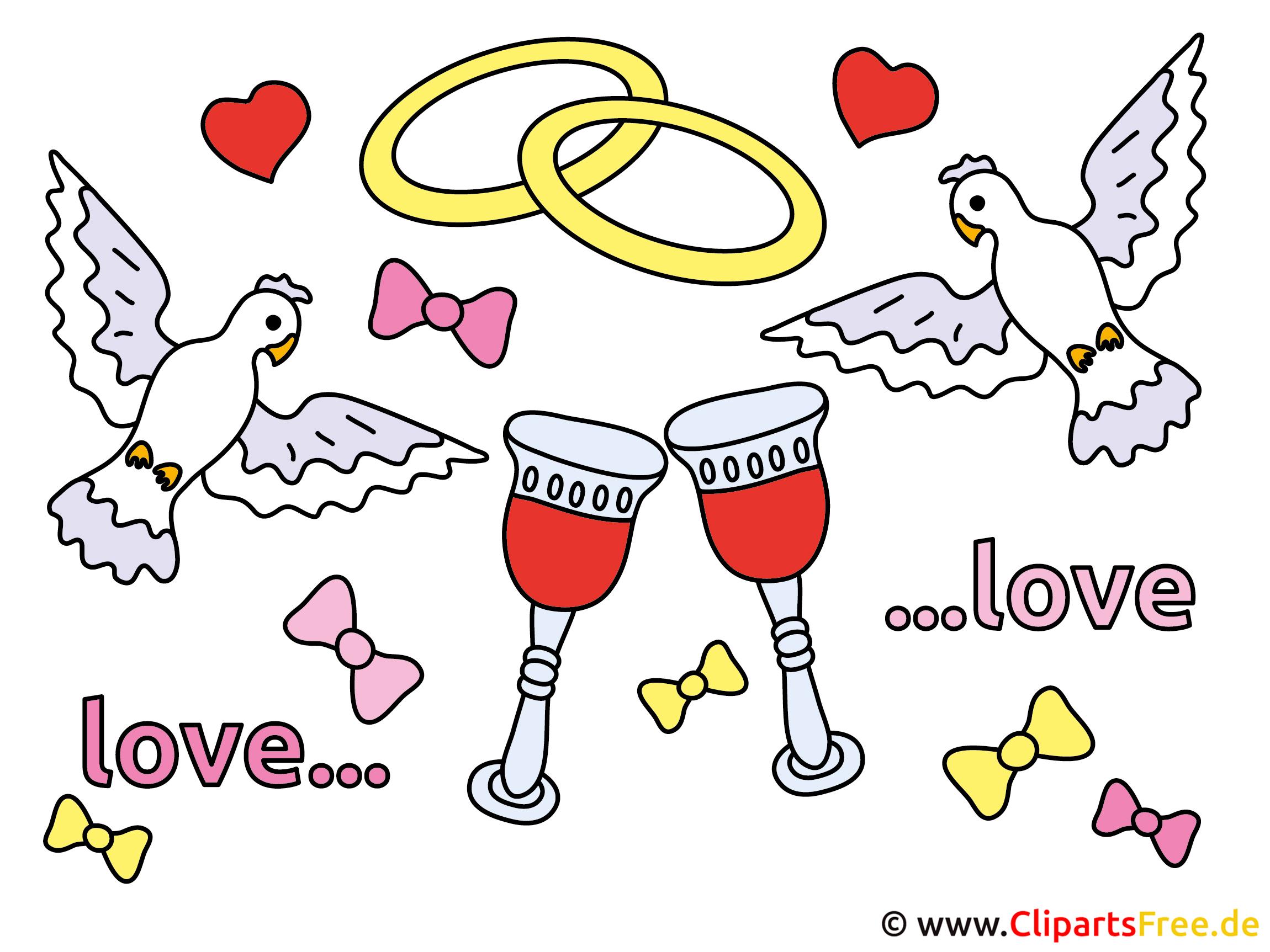 Hochzeitstauben mit Ringen Clipart