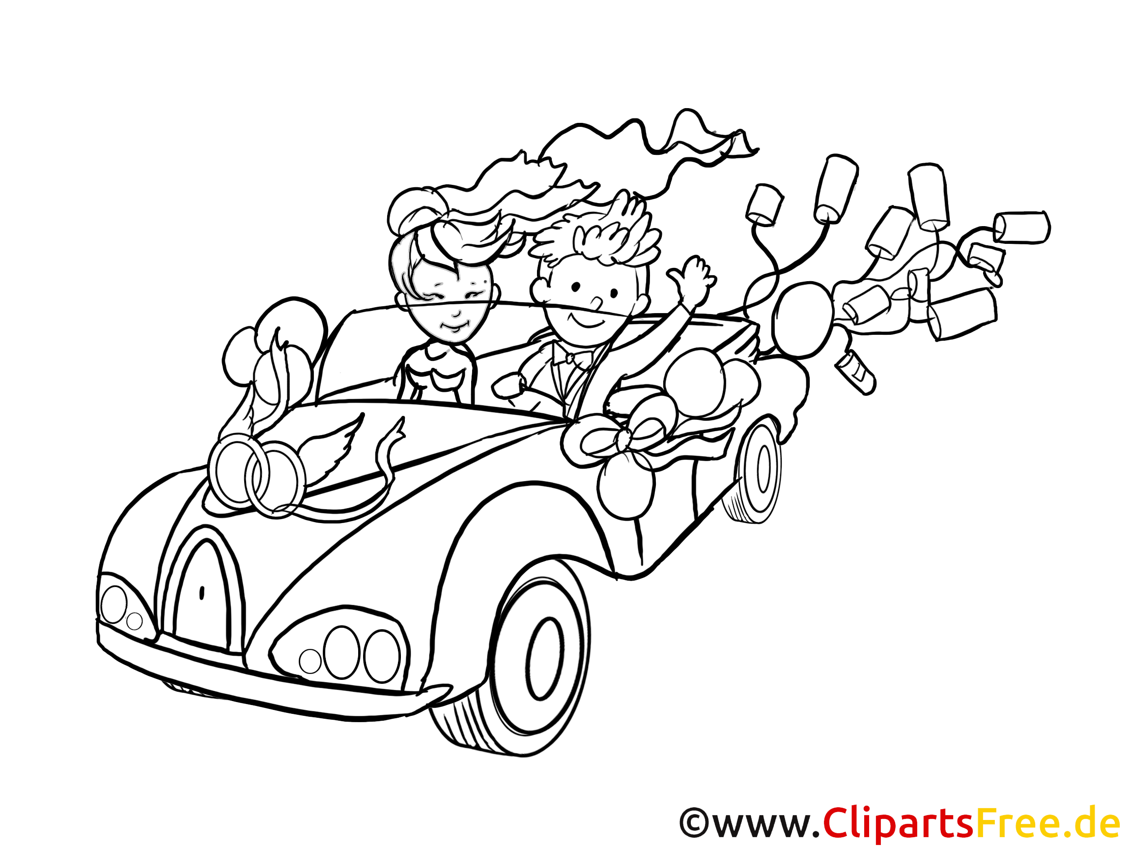Just married clip art black and white free - Coloriage de mariee ...