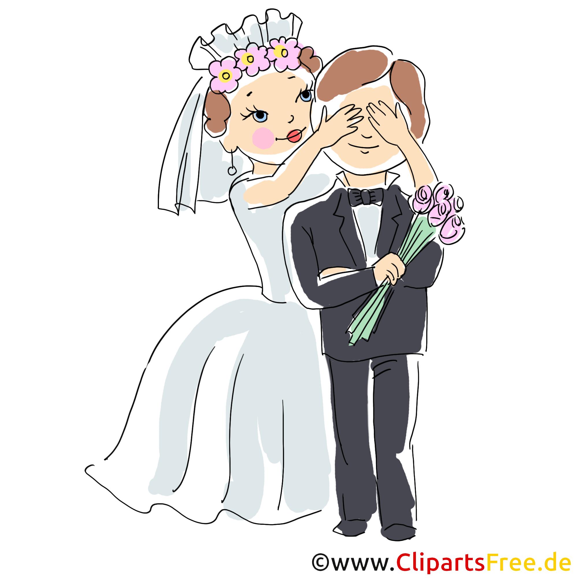 Karten zur Hochzeit gestalten mit Clipart - Braut macht Auges des Bräutigams zu