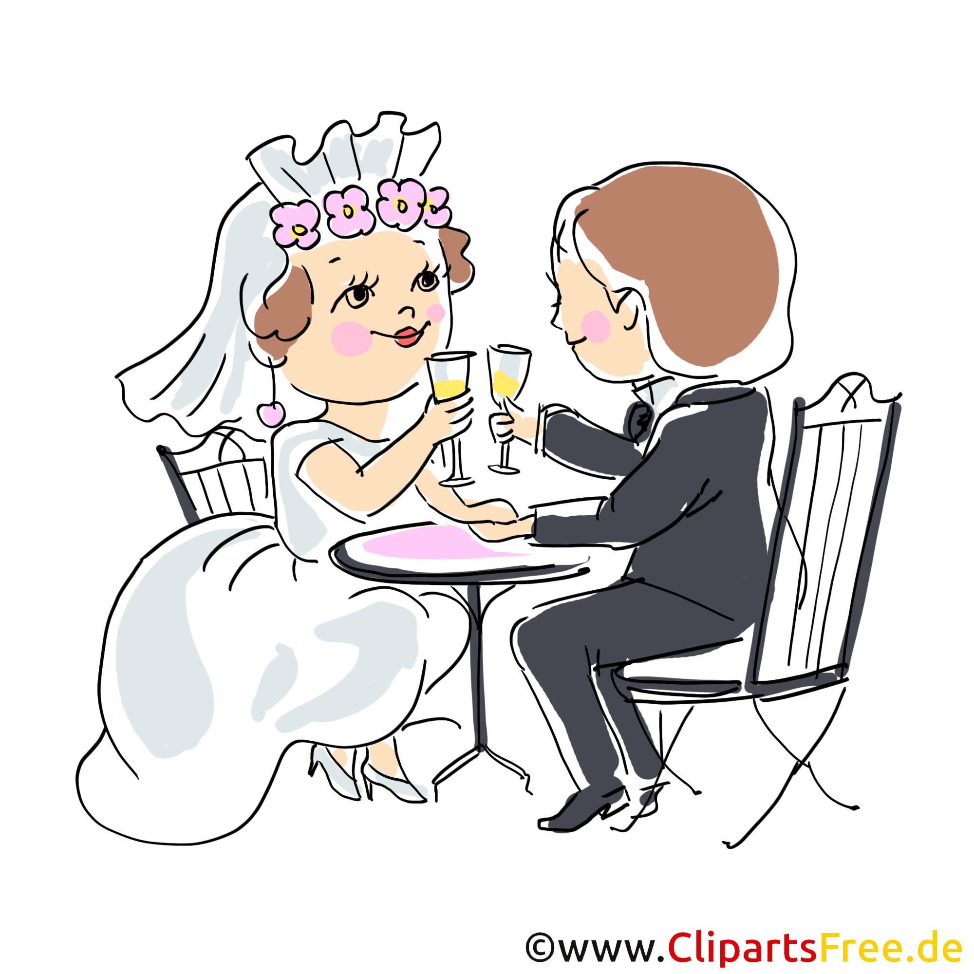 Schönes Clipart Brautpaar im Restaurant