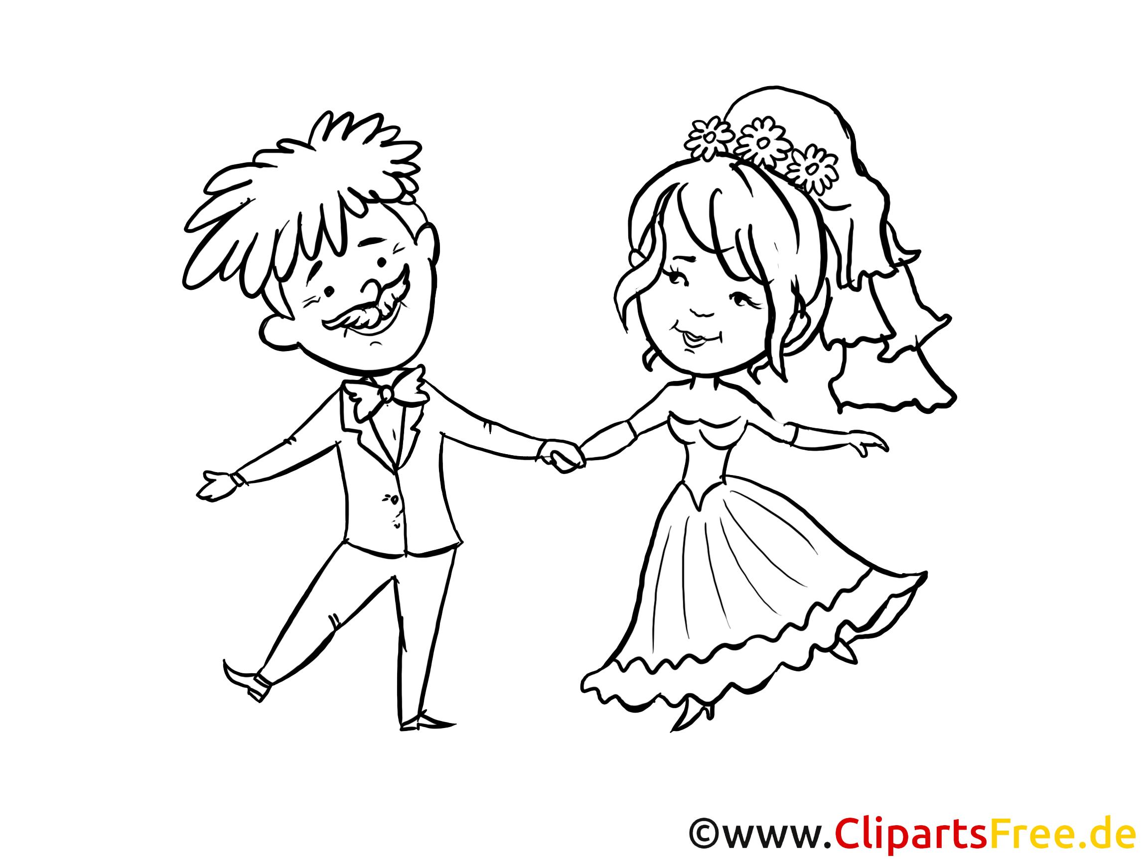 Zeichnung zum Ausmalen Hochzeit, Brautpaar, glückliche Verliebte