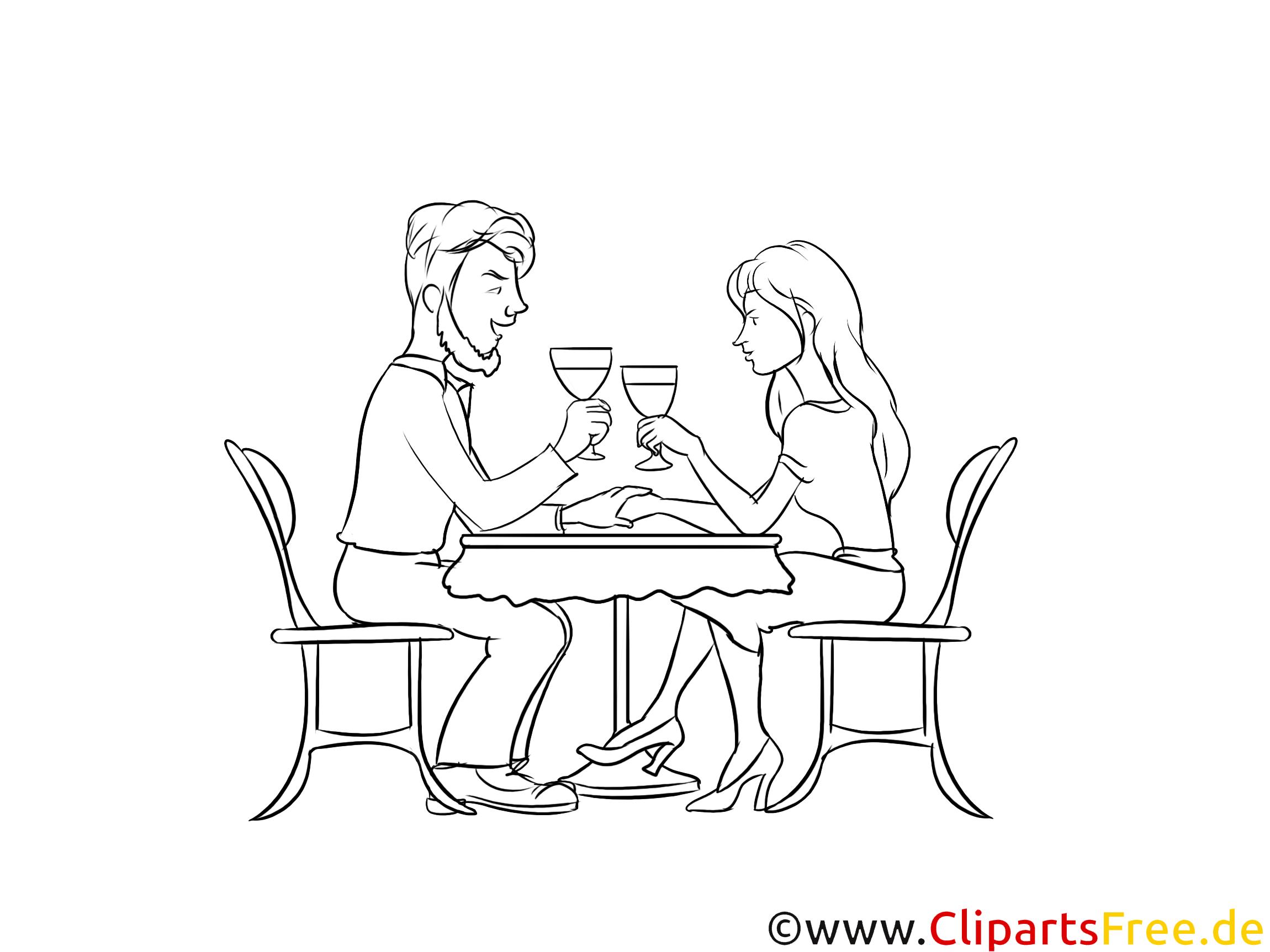 Liebespaar bei einem Date im Café Zeichnung, Grafik schwarz-weiß