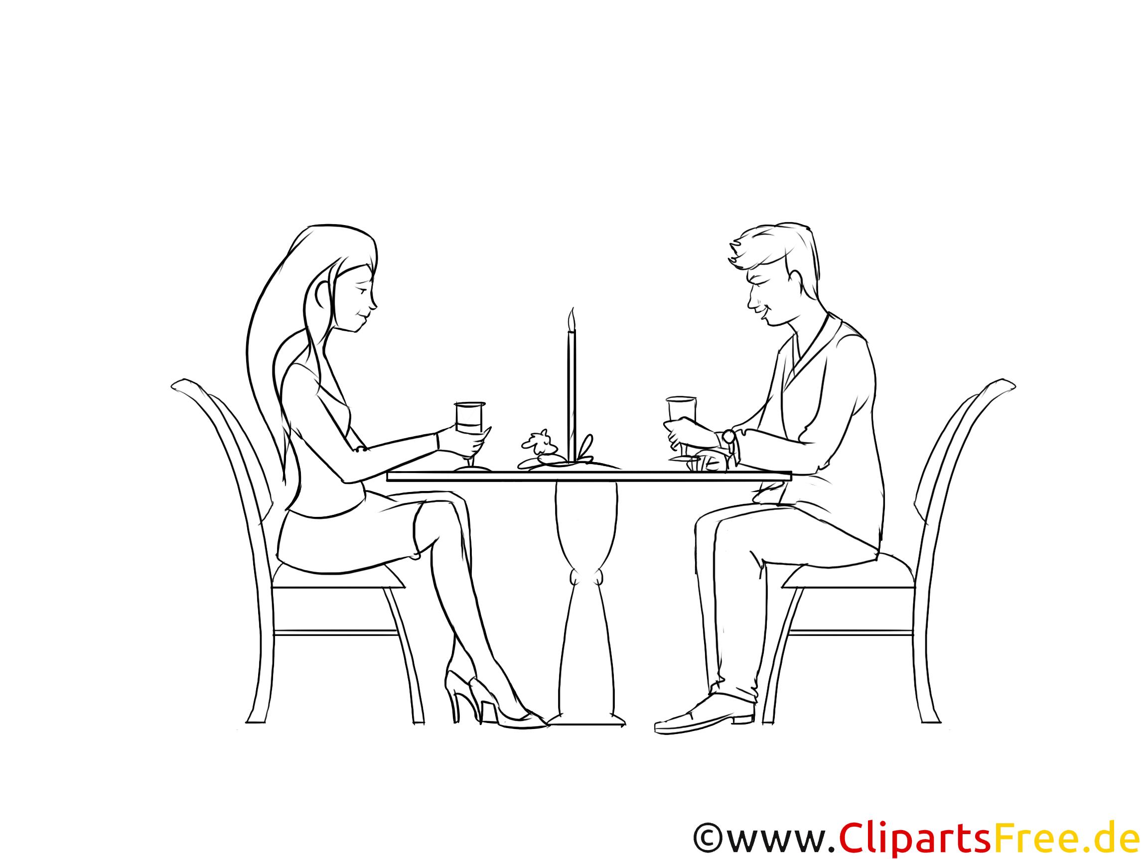 Paar, das Date im Cafe hat, das Kaffee trinkt Zeichnung, Grafik