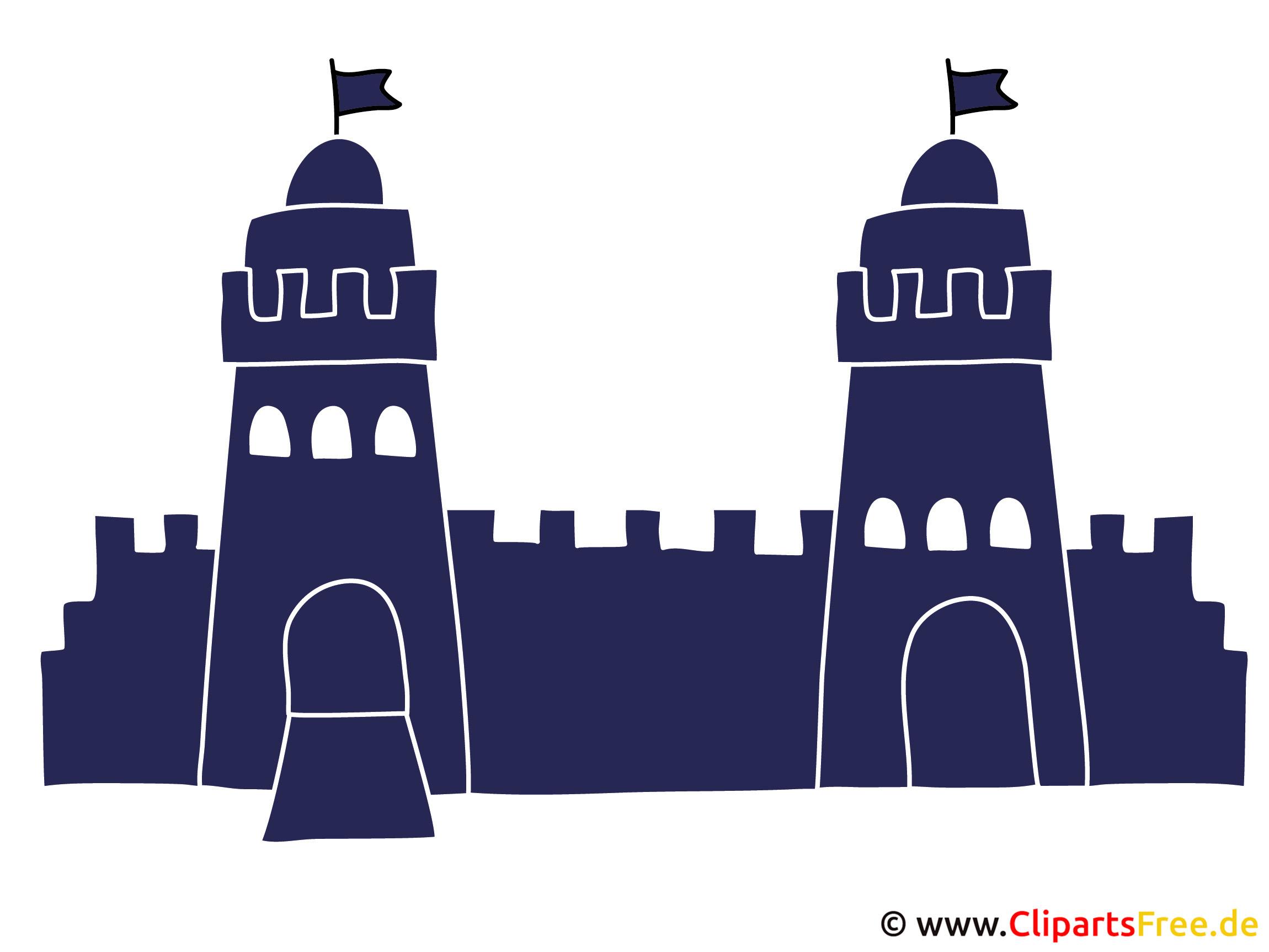 Burg mit zwei Türmen Clipart Sihouette