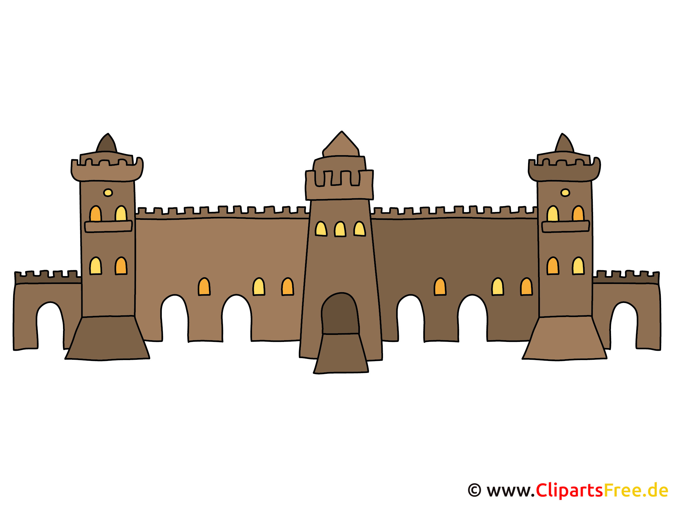 Burgmauer Bild, Clipart, Illustration