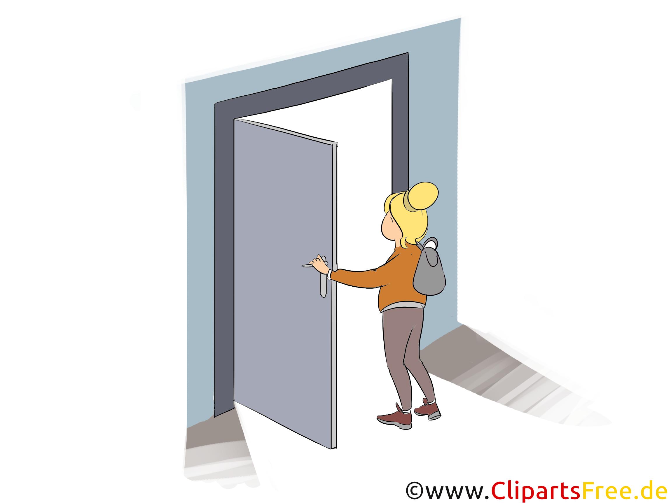 Frau öffnet Tür Clipart, Bild, Illustration