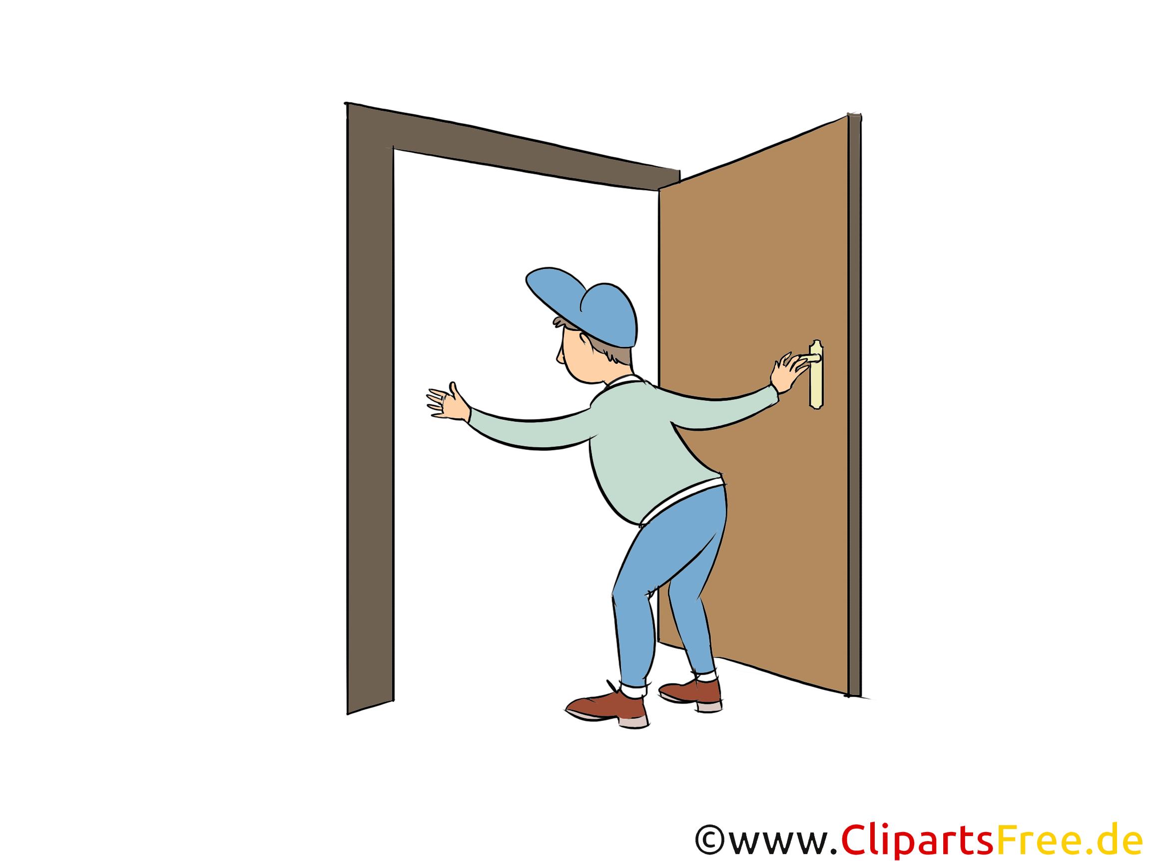 Tischler baut Tür ein Clipart Handwerk