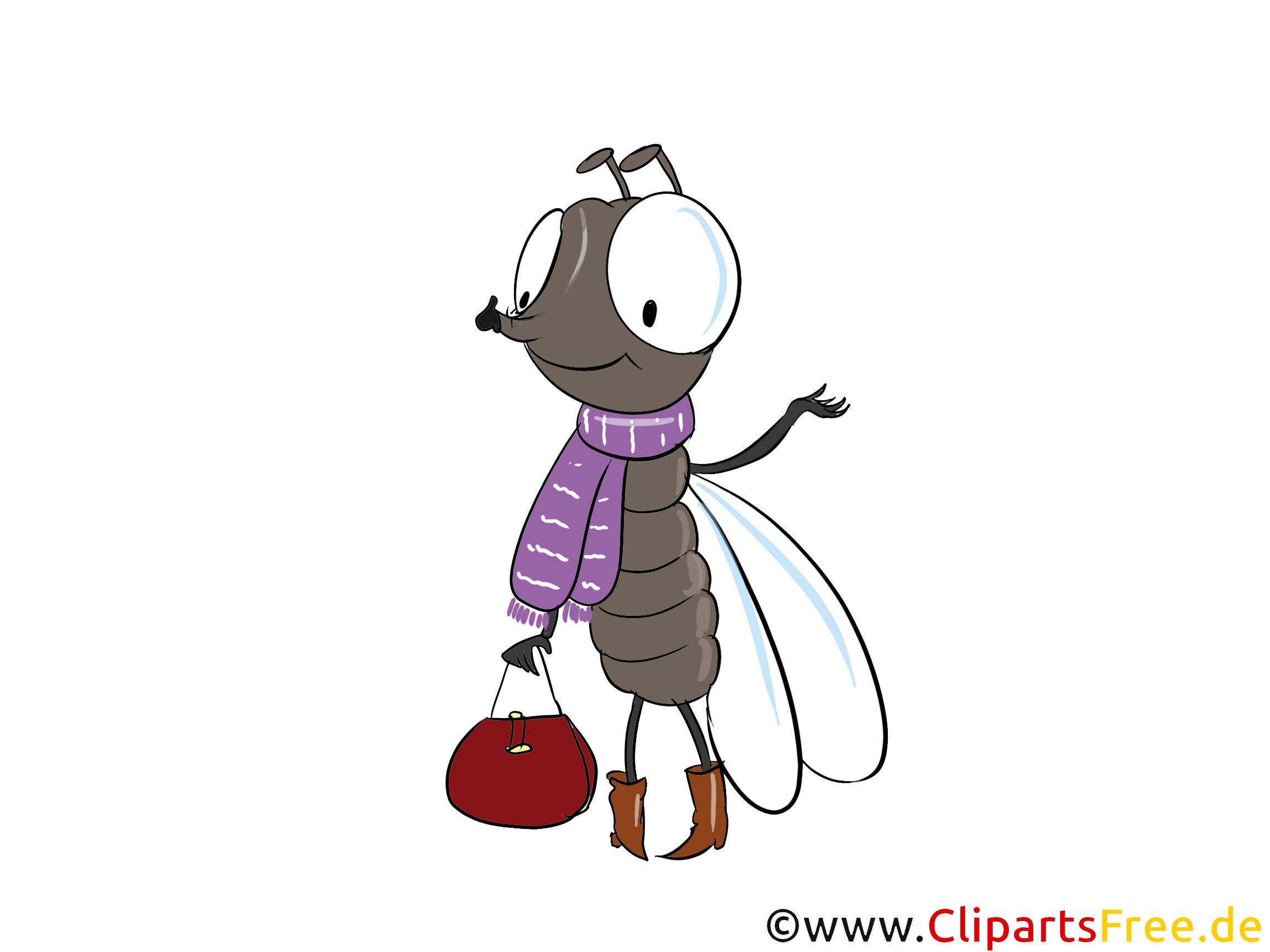 Mücke, Fliege Cartoon Bild, Clipart, Illustration