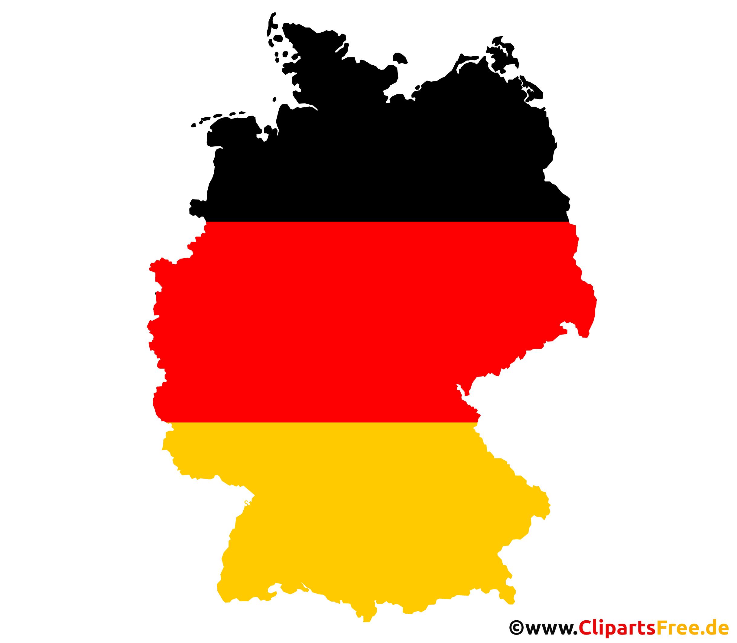 Deutschland Konturen - Landkarte für Deutschland in schwarz, rot, gold