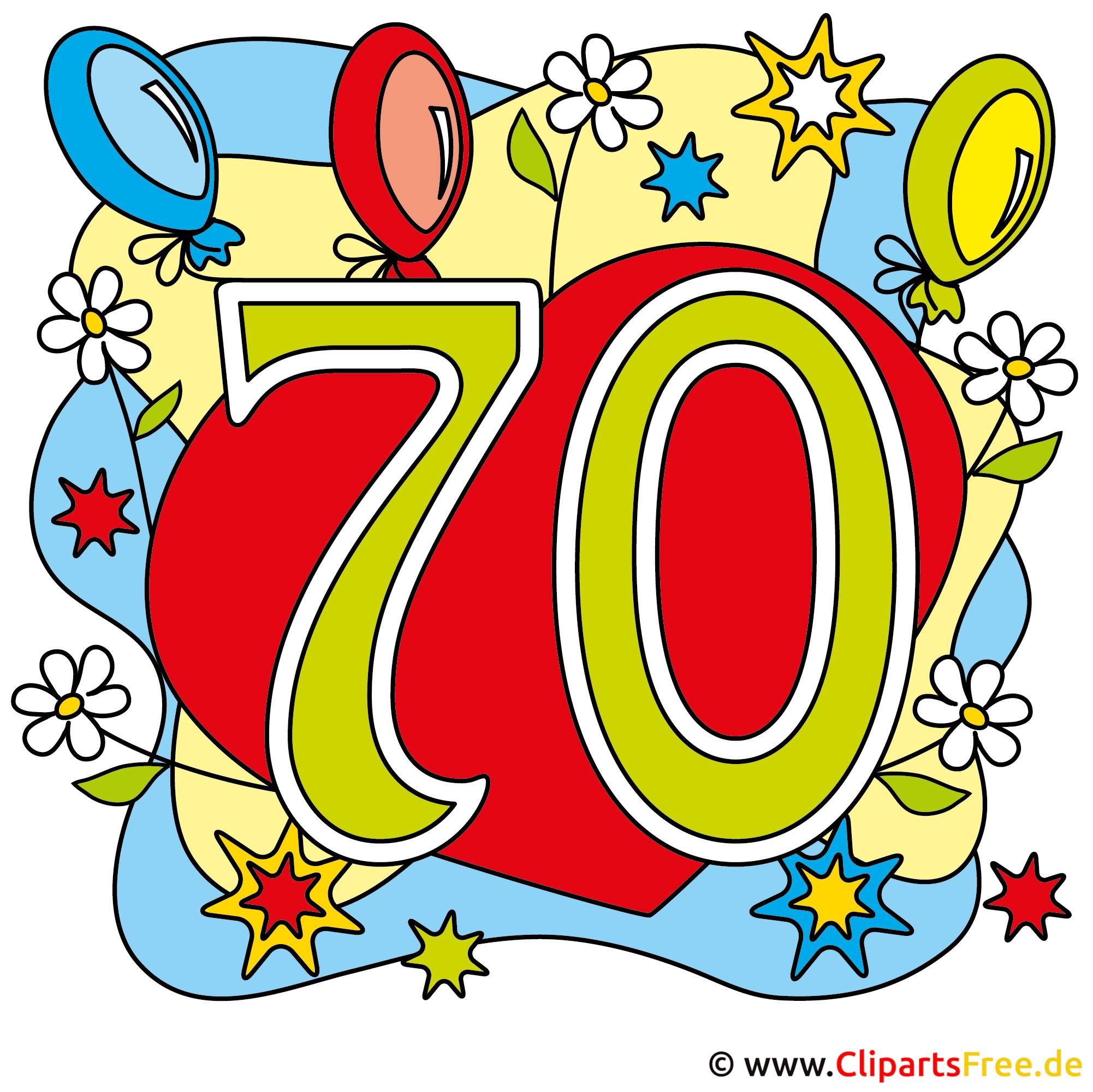 70 Jubiläum Bild, Glückwunschkarte, Clipart