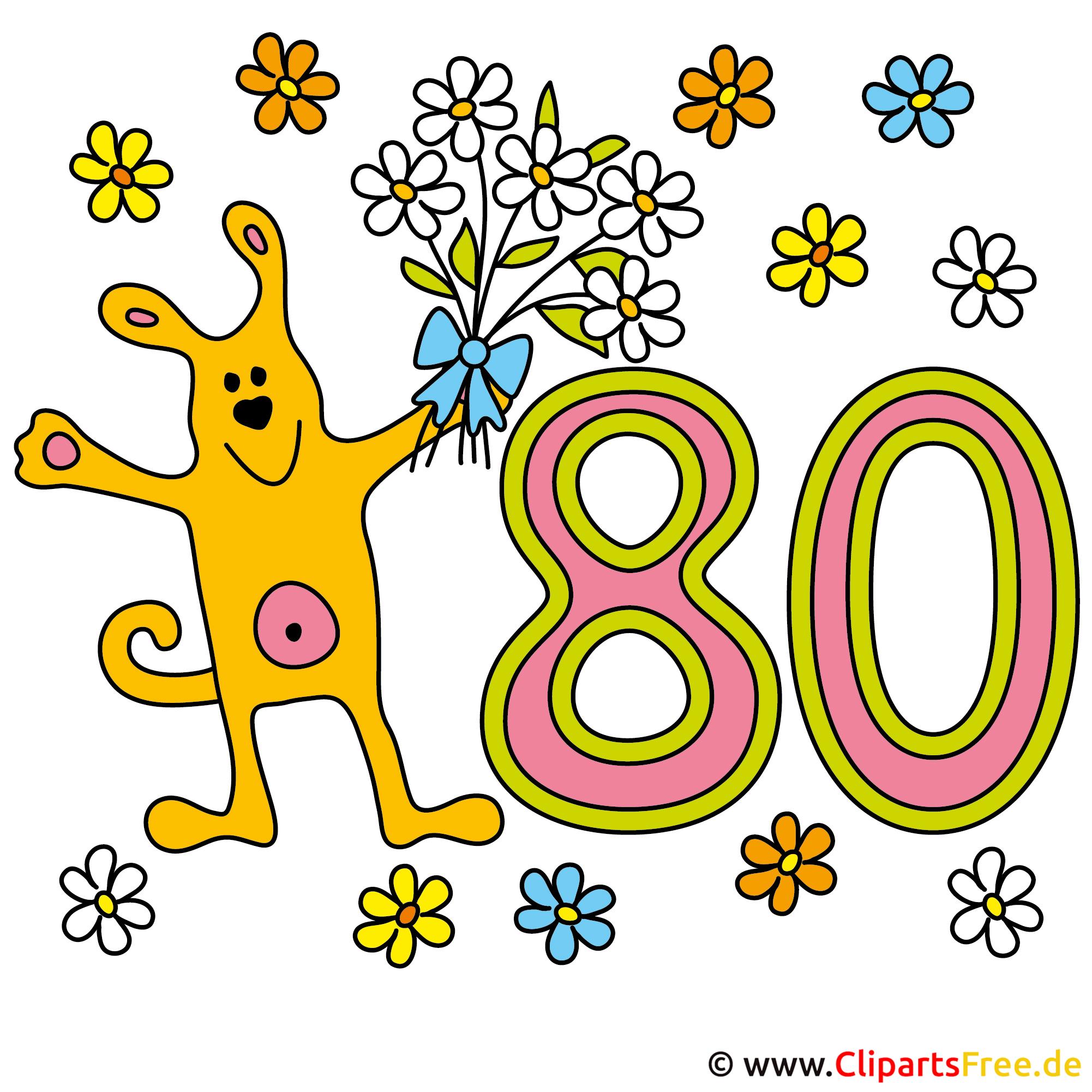 80 Jubilaum Bild Karte Clipart