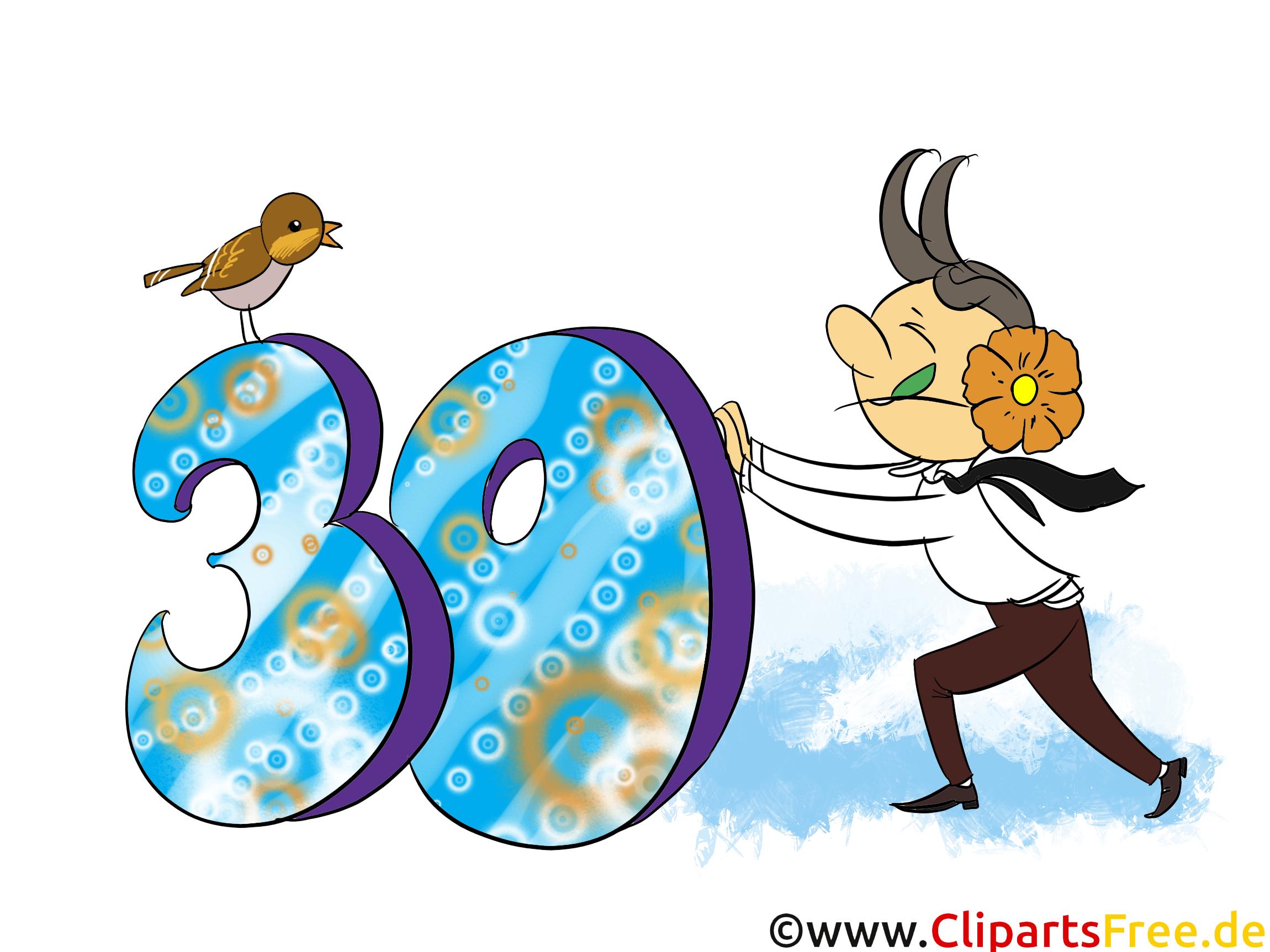 Grüsse zum Geburtstag 30 Jahre - Clipart, Grusskarte ...