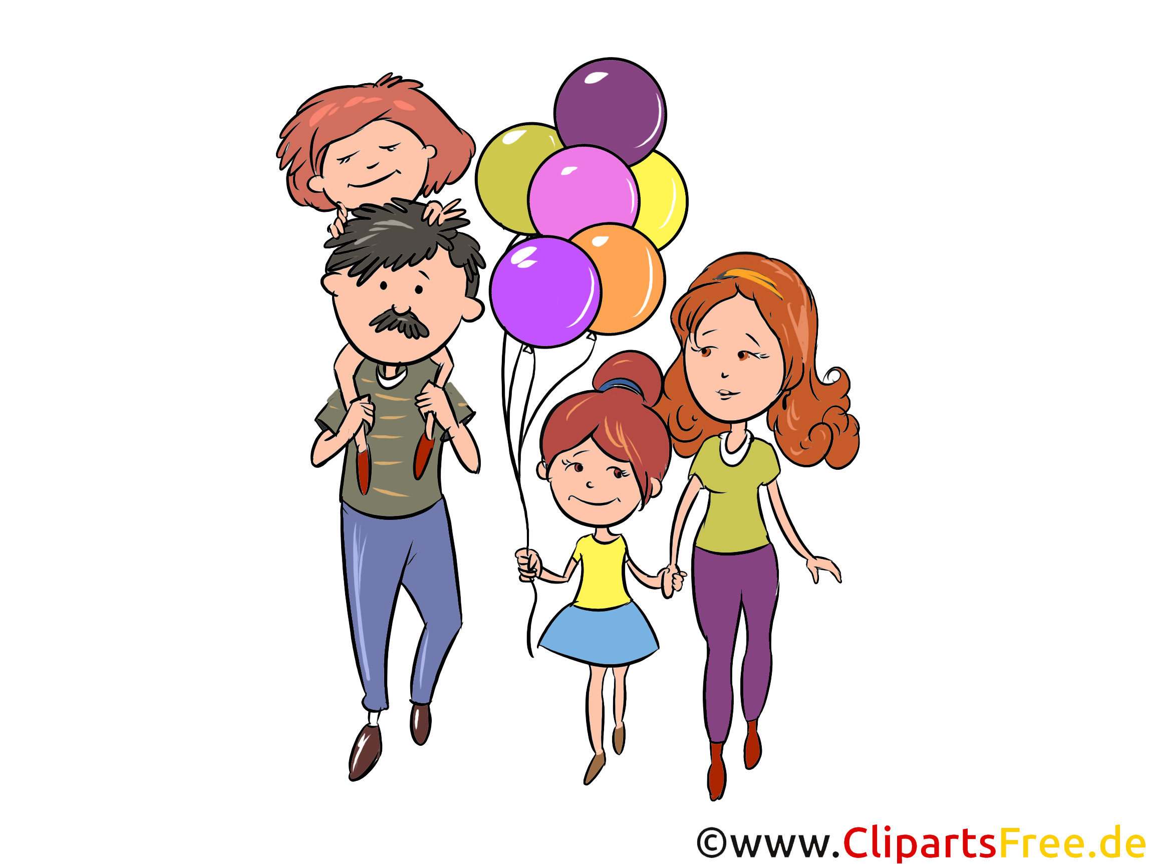 Familie auf Karneval, Fasching, Karnevalumzug