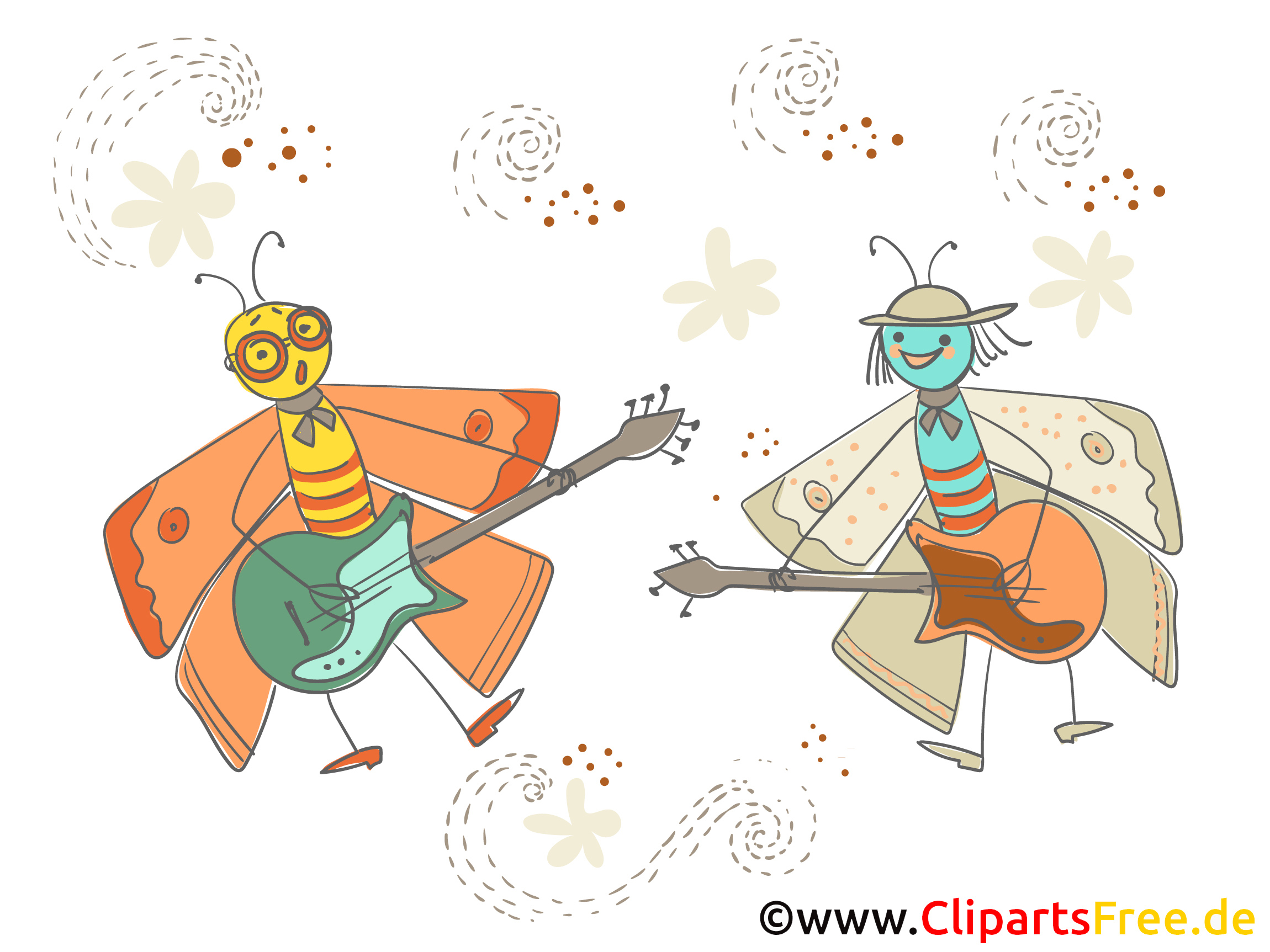 Karneval Bild lustige Motten mit Gitarren