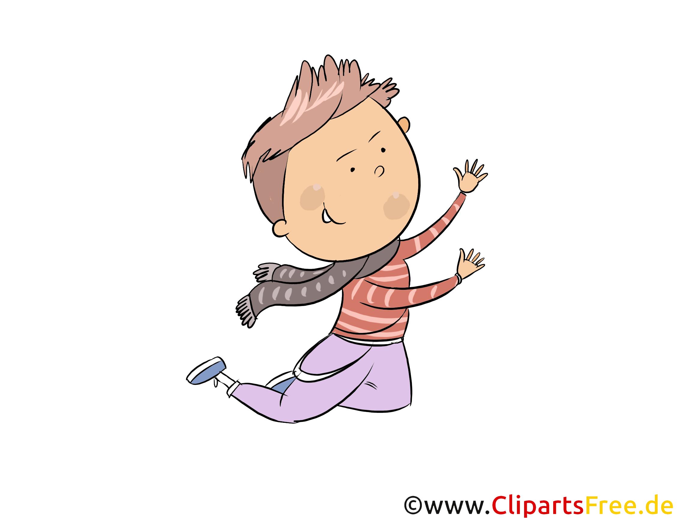 Junge springt - Kinder Clipart kostenlos