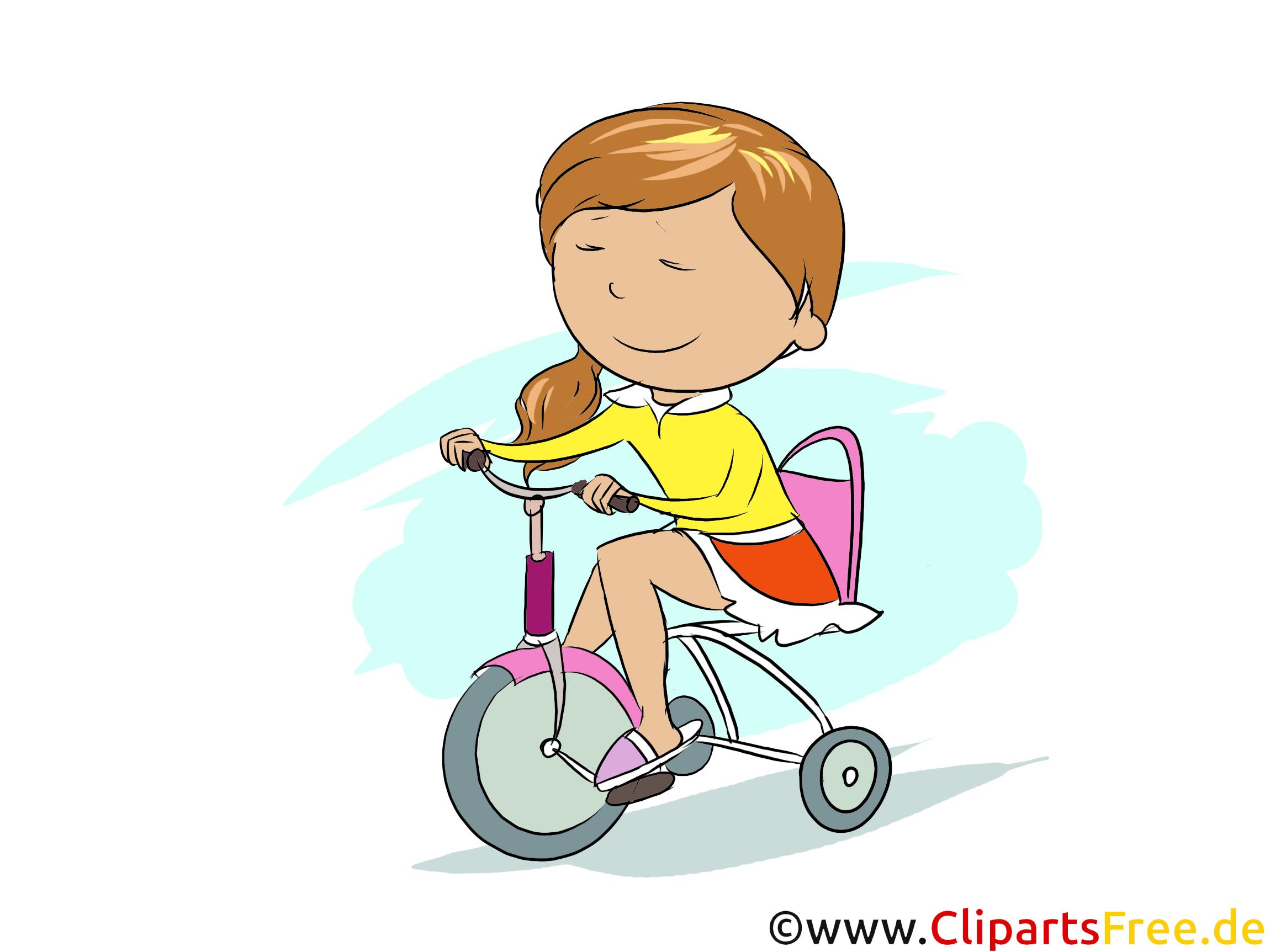 Mädchen fährt Fahrrad - Bilder zum Tagesablauf gür Schule
