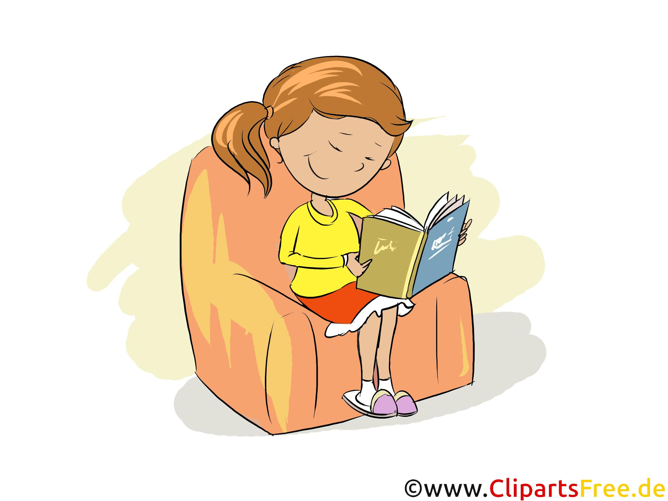 Mädchen liesst ein Buch im Sessel - Bilder für Grundschule