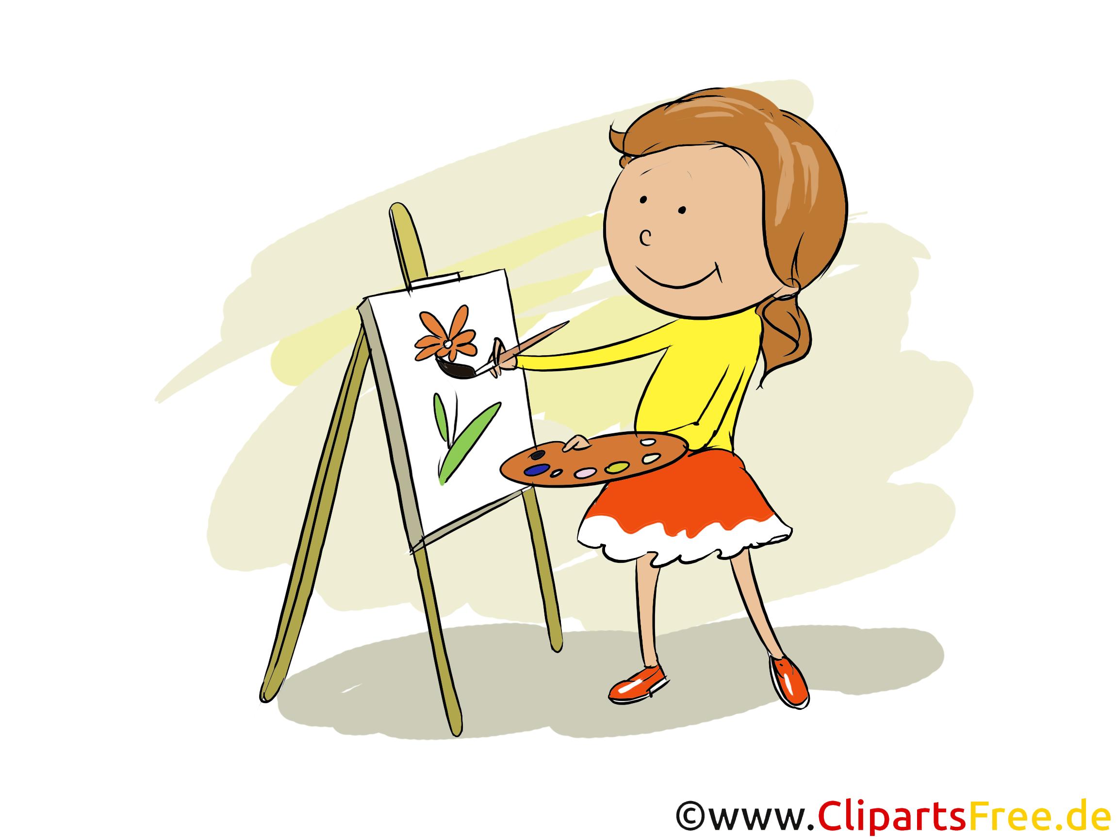 Mädchen malt im Kunstunterricht - Tagesablauf Bilder für Schule