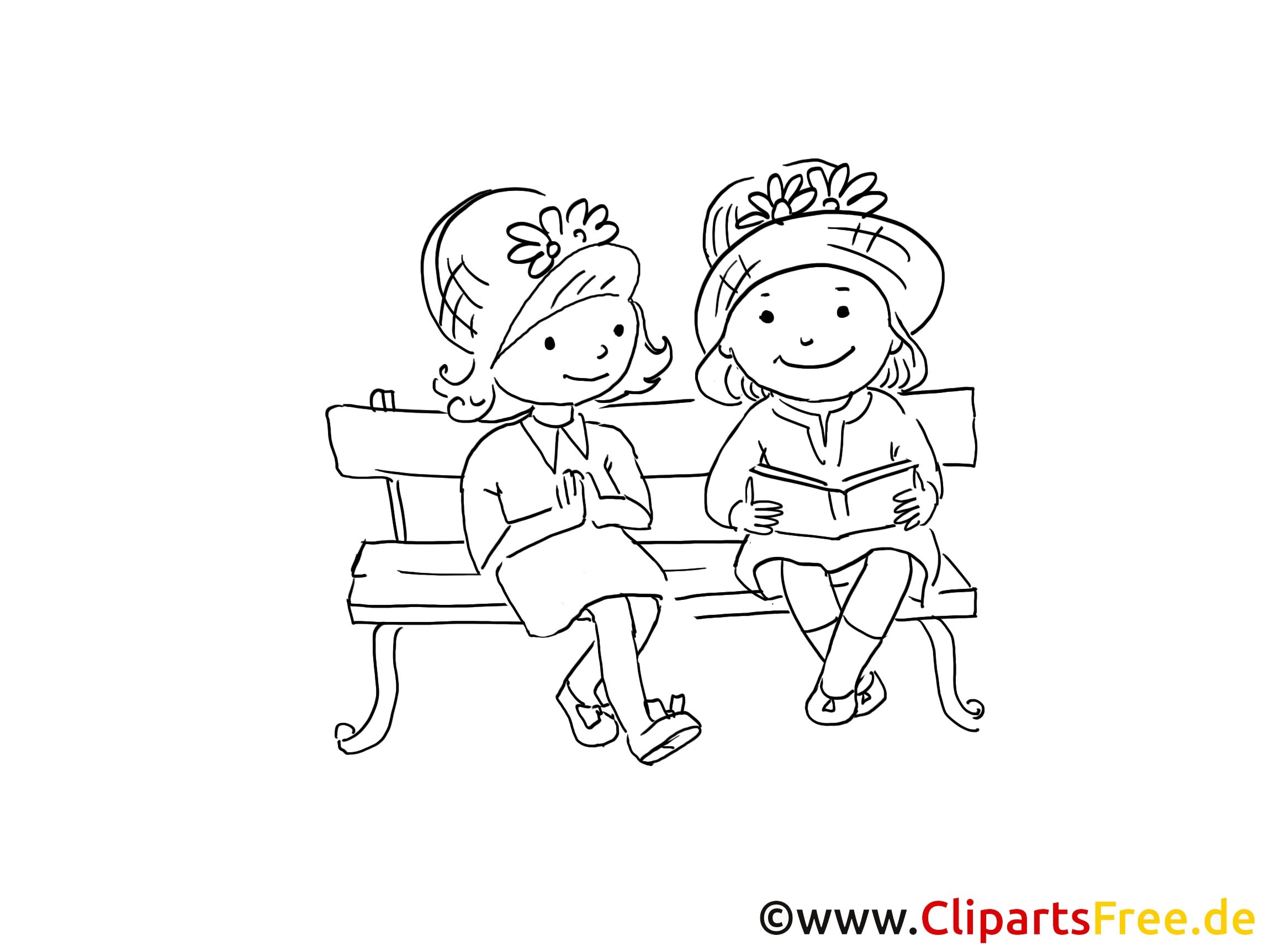 Freundinnen im Park Zeichnung, Bild schwarz-weiss, Clipart ...