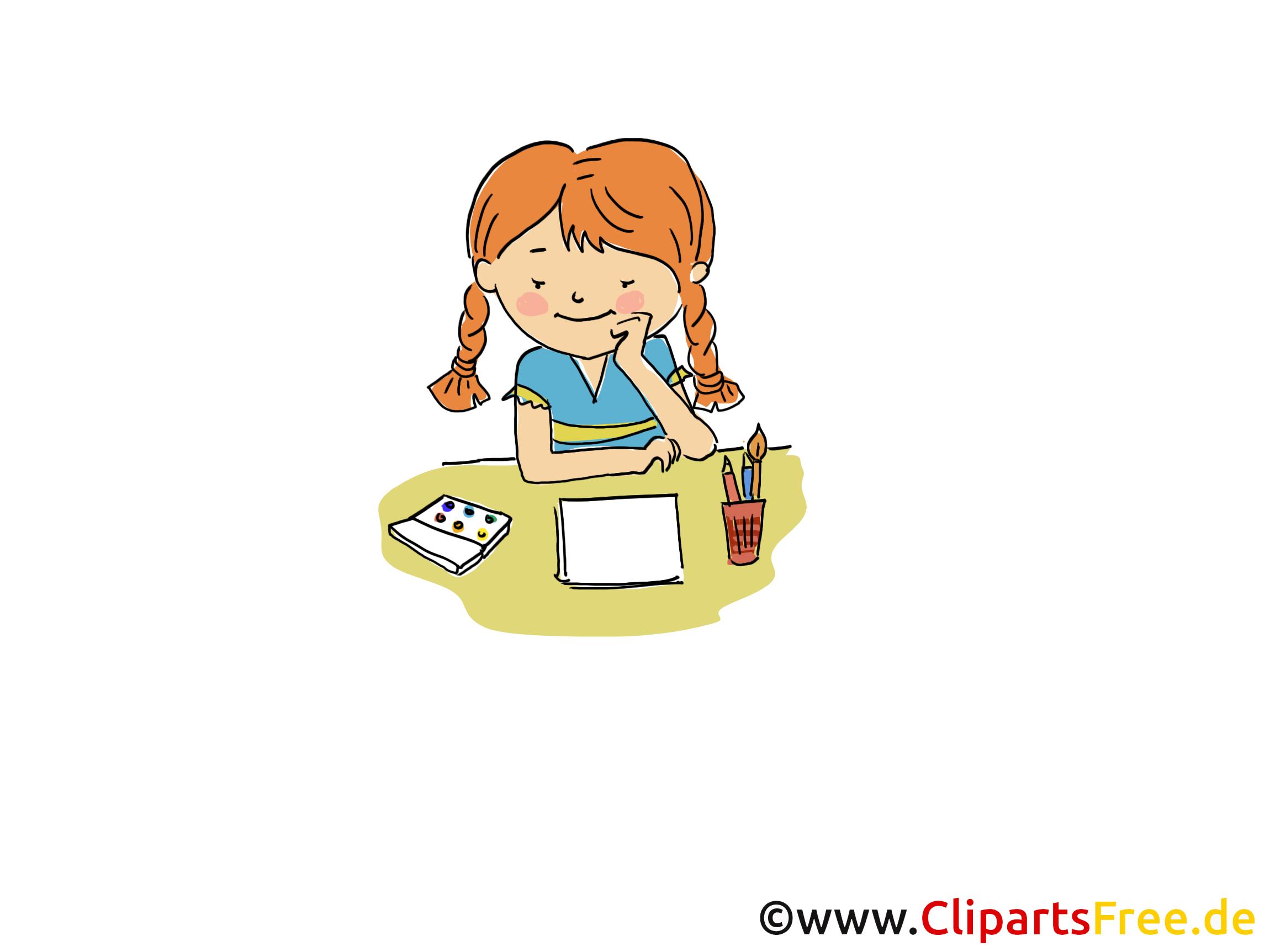 Mädchen macht Hausaufgaben Bild, Clipart, Cartoon, Grafik ...