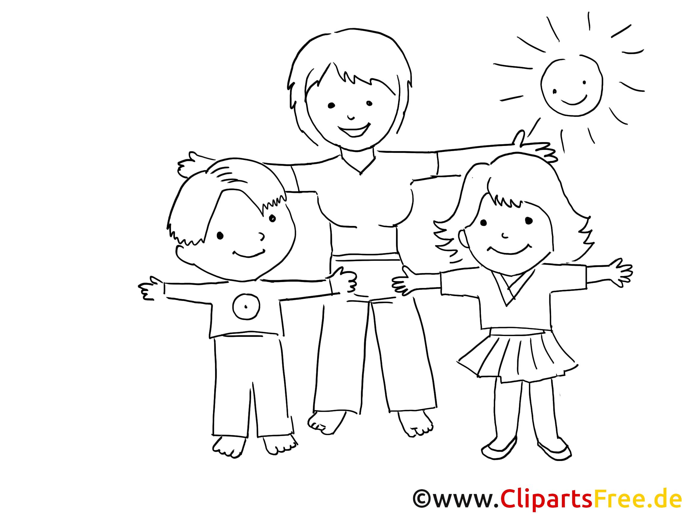 Sport im Kindergarten Zeichnung, Bild schwarz-weiss ...