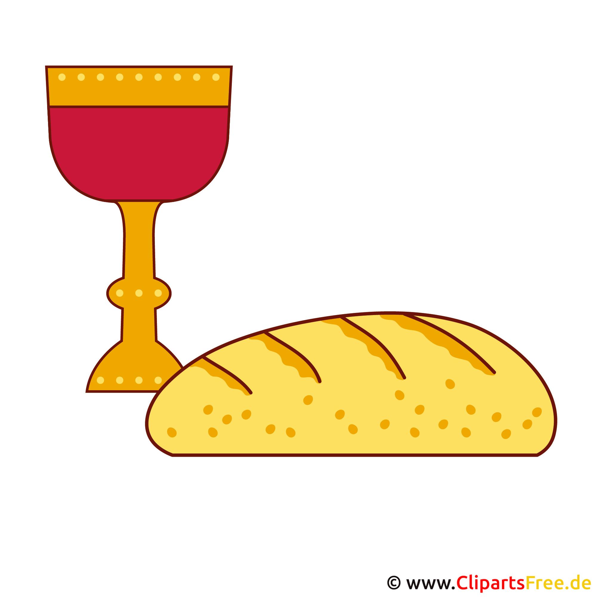 Kommunion Einladungskarten  mit gratis Cliparts gestalten - Brot und Wein