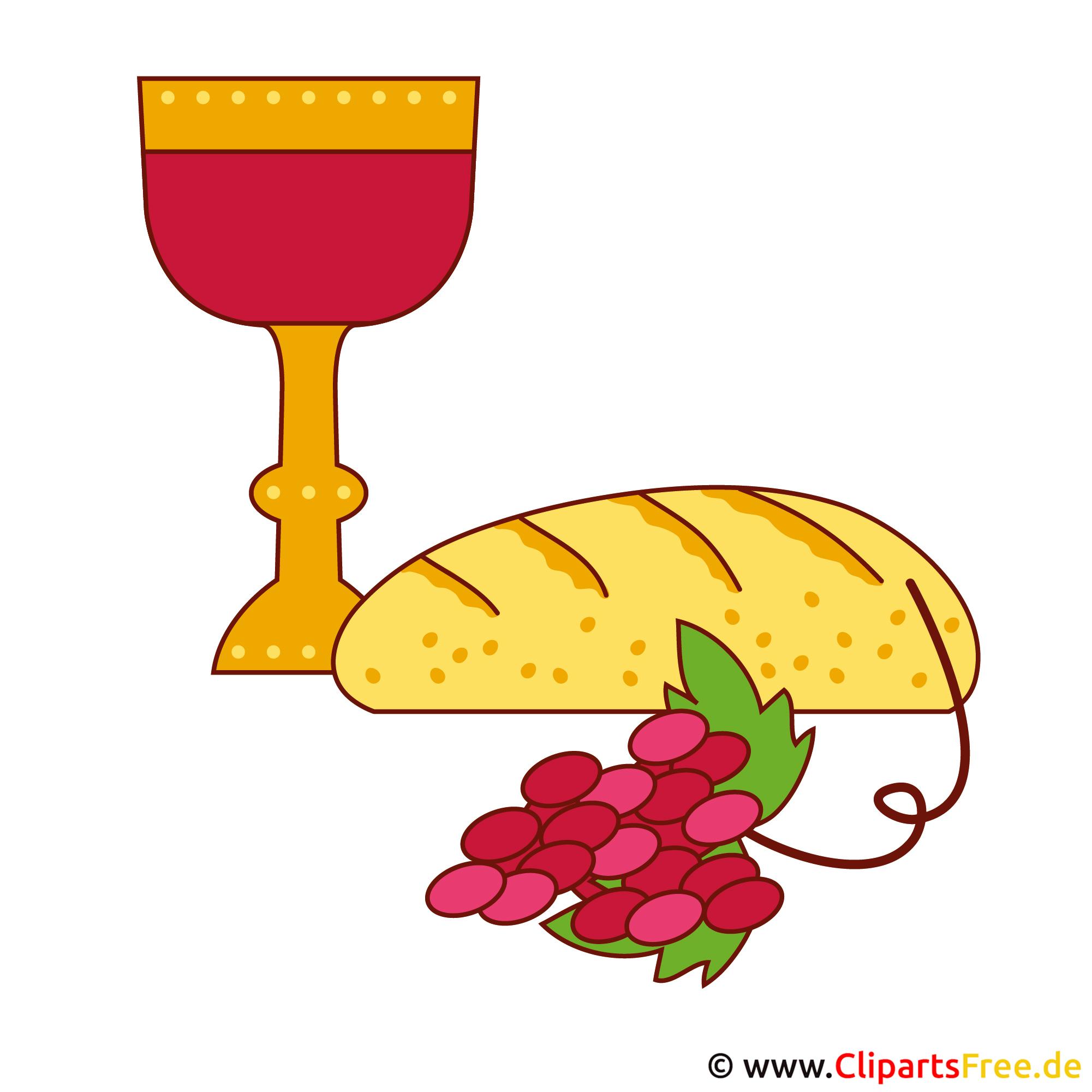 Wein und Brot Illustration - Kommunion Bilder kostenlos