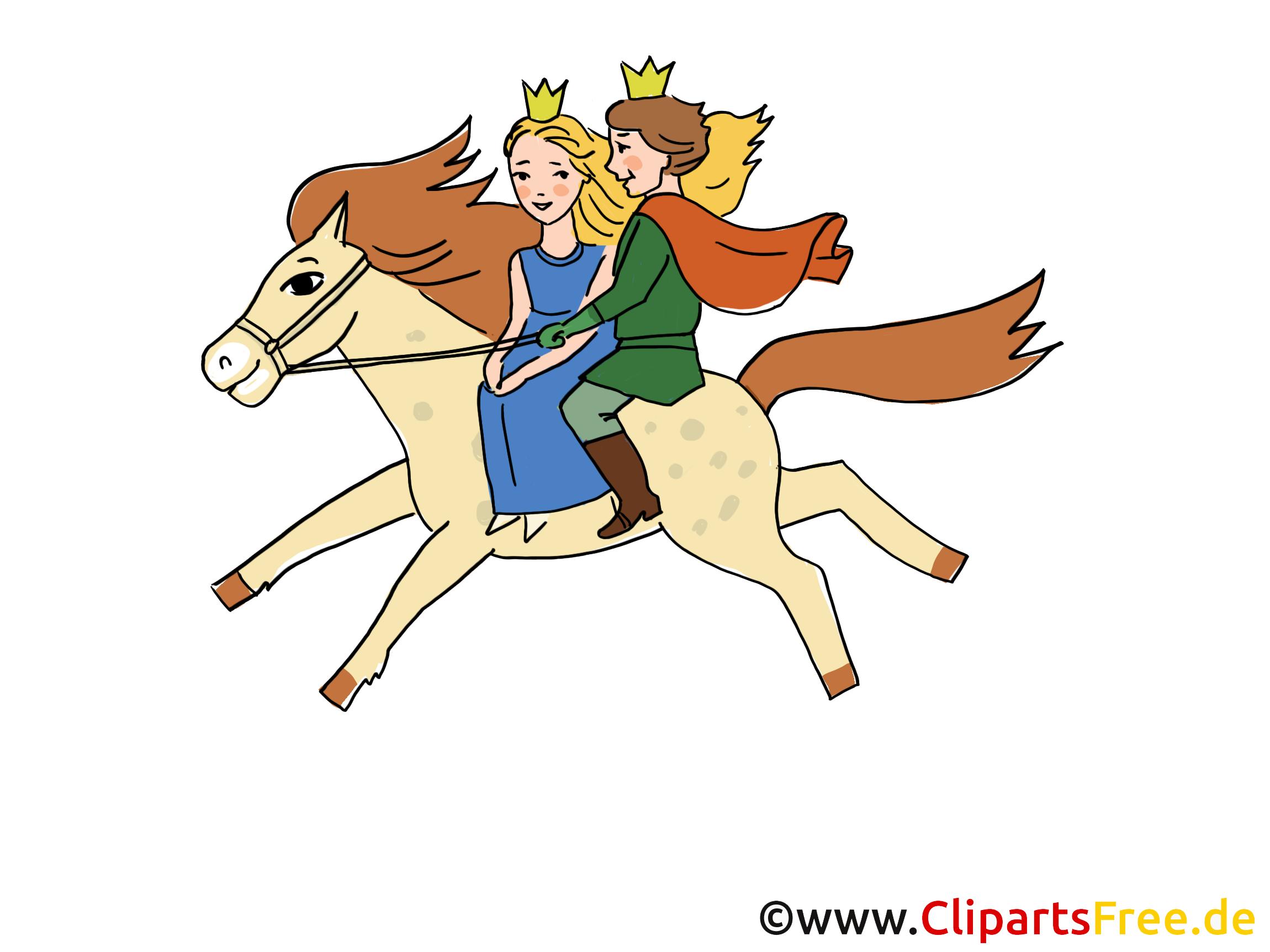 märchenillustrationen mit märchenfiguren  pferd
