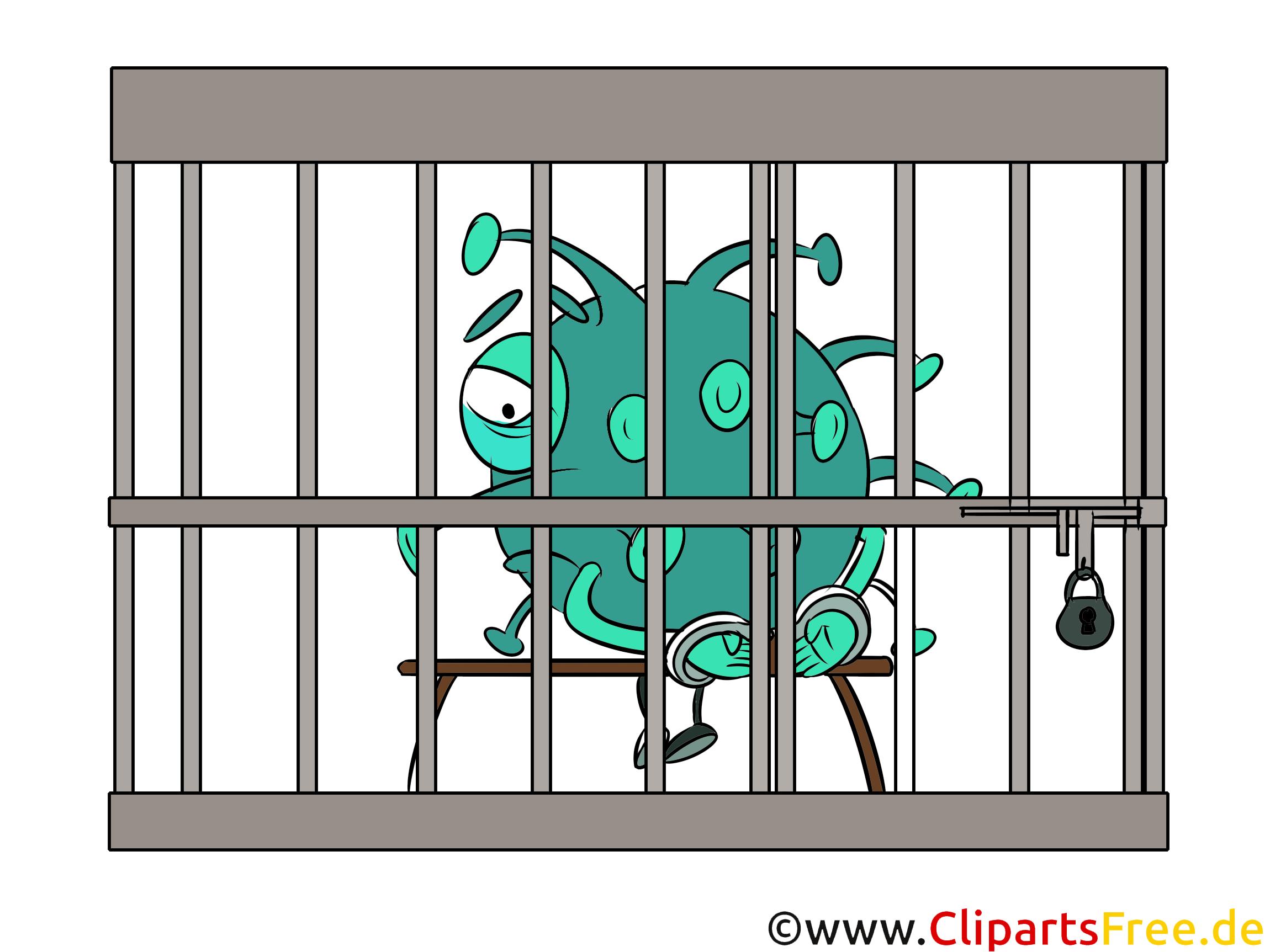 Bakterie isoliert im Käfig Bild, Clipart, Comic