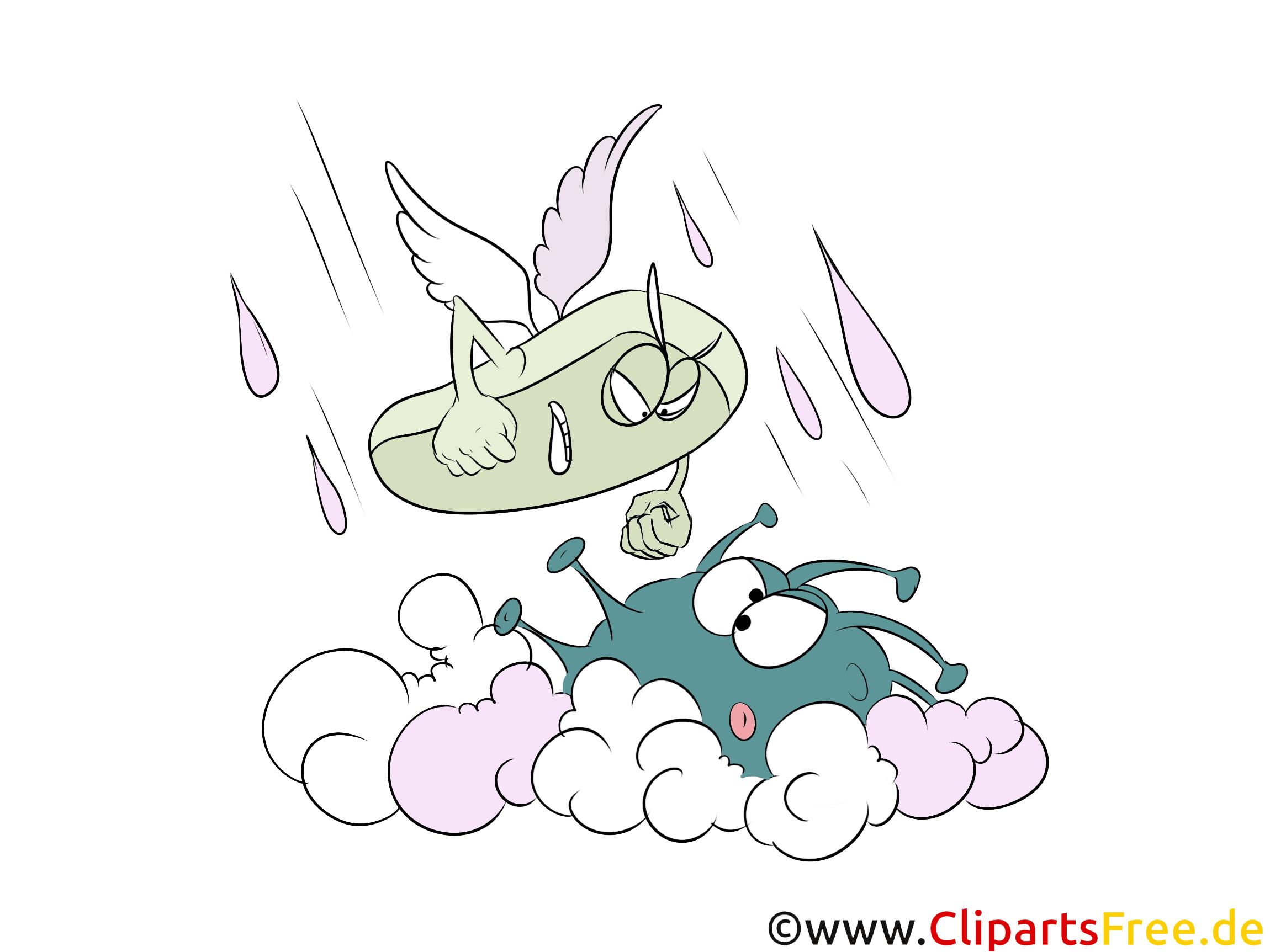 Seife bekämpft Bakterien Clipart, Illustration, Bild