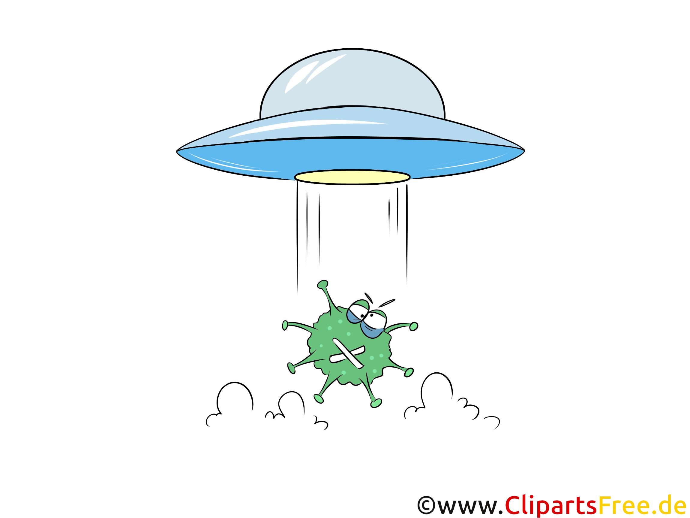 Ufo bringt Virus, Bakterien - Verschwörungstheorien - Illustration, Cartoon, Comic