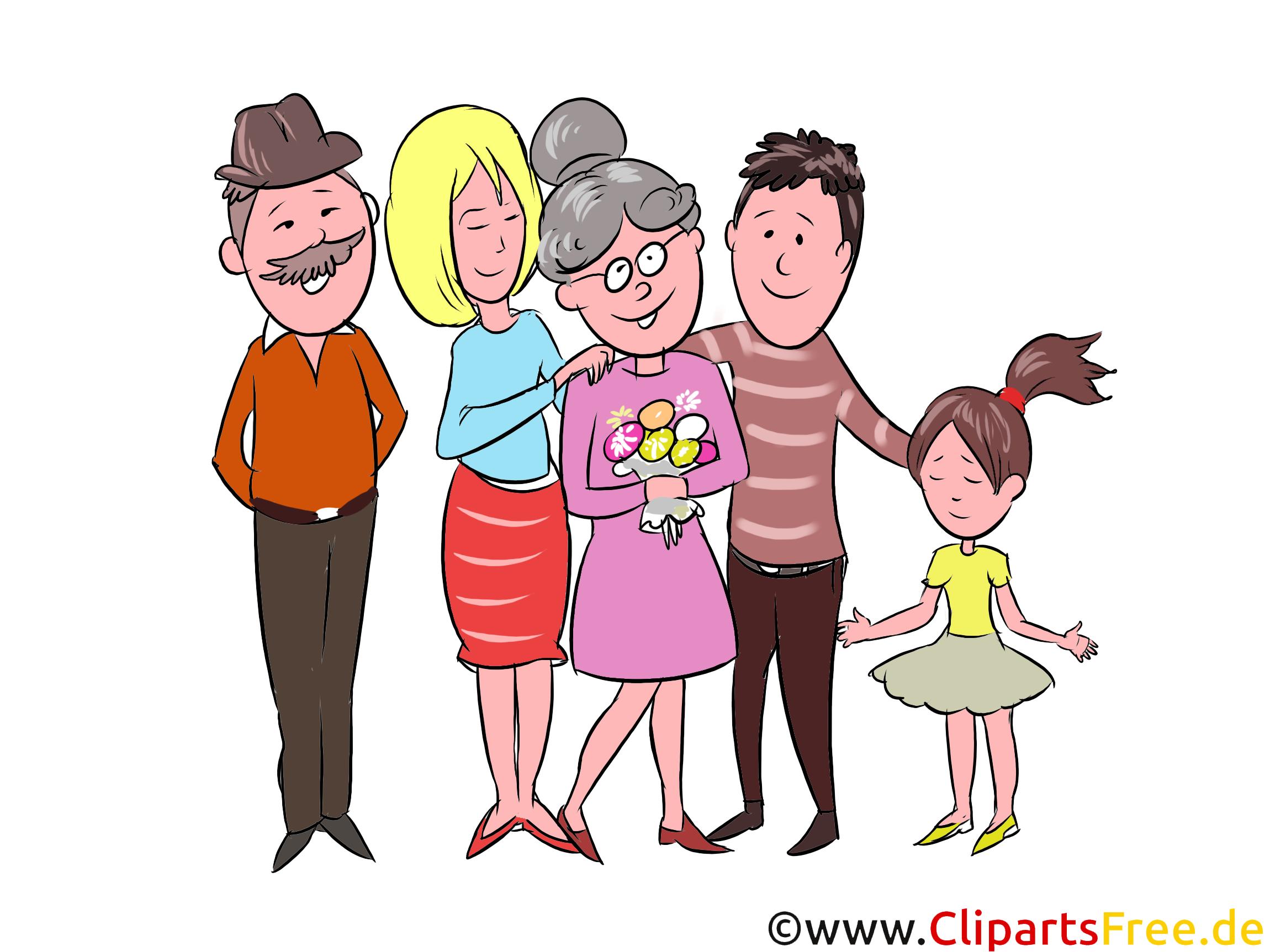 Großmutter, Großvater, Eheleute, Kinder Clipart, Illustration, Bild