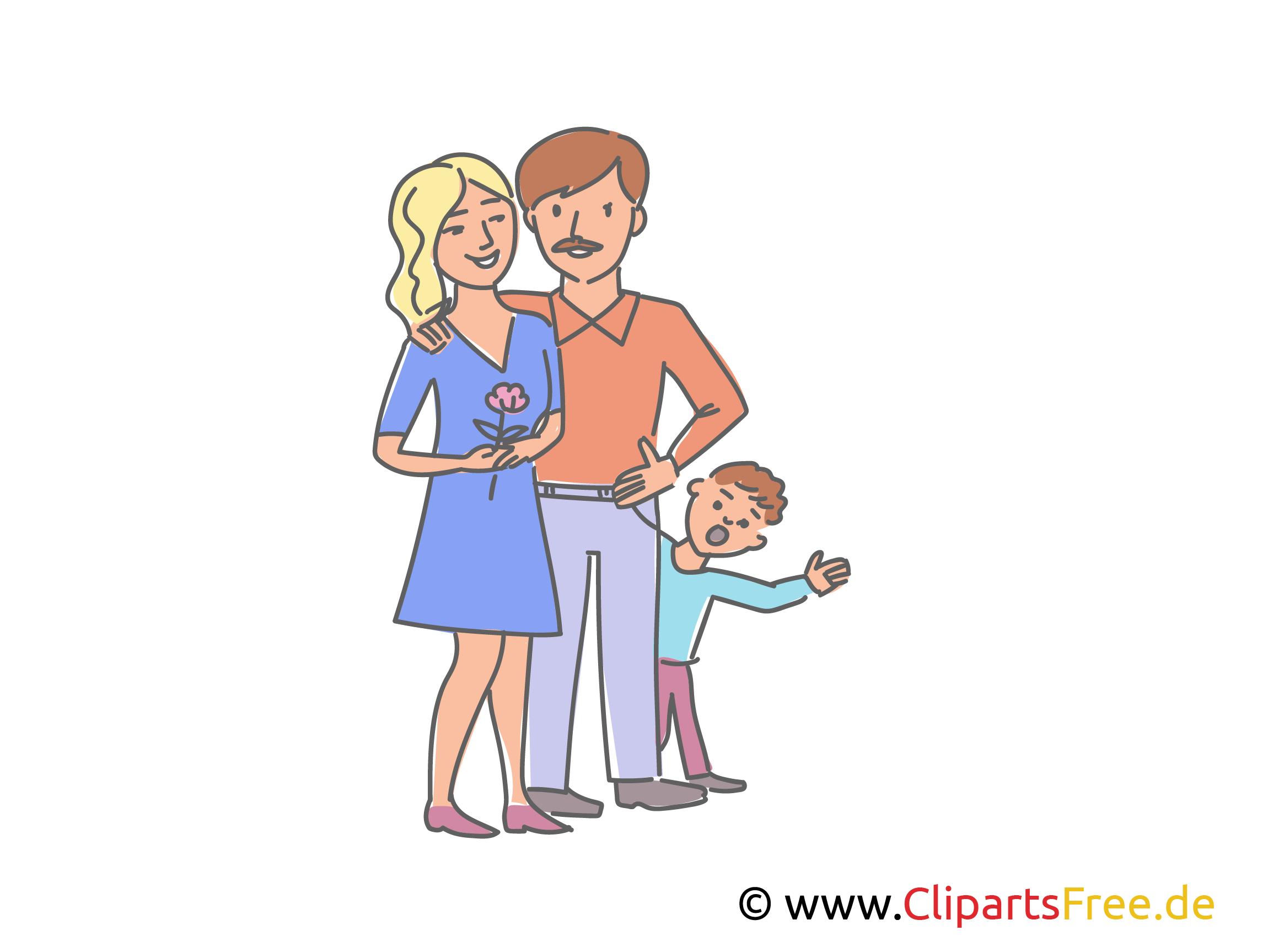 Junge Familie mit Kind Clipart, Illustration, Bild
