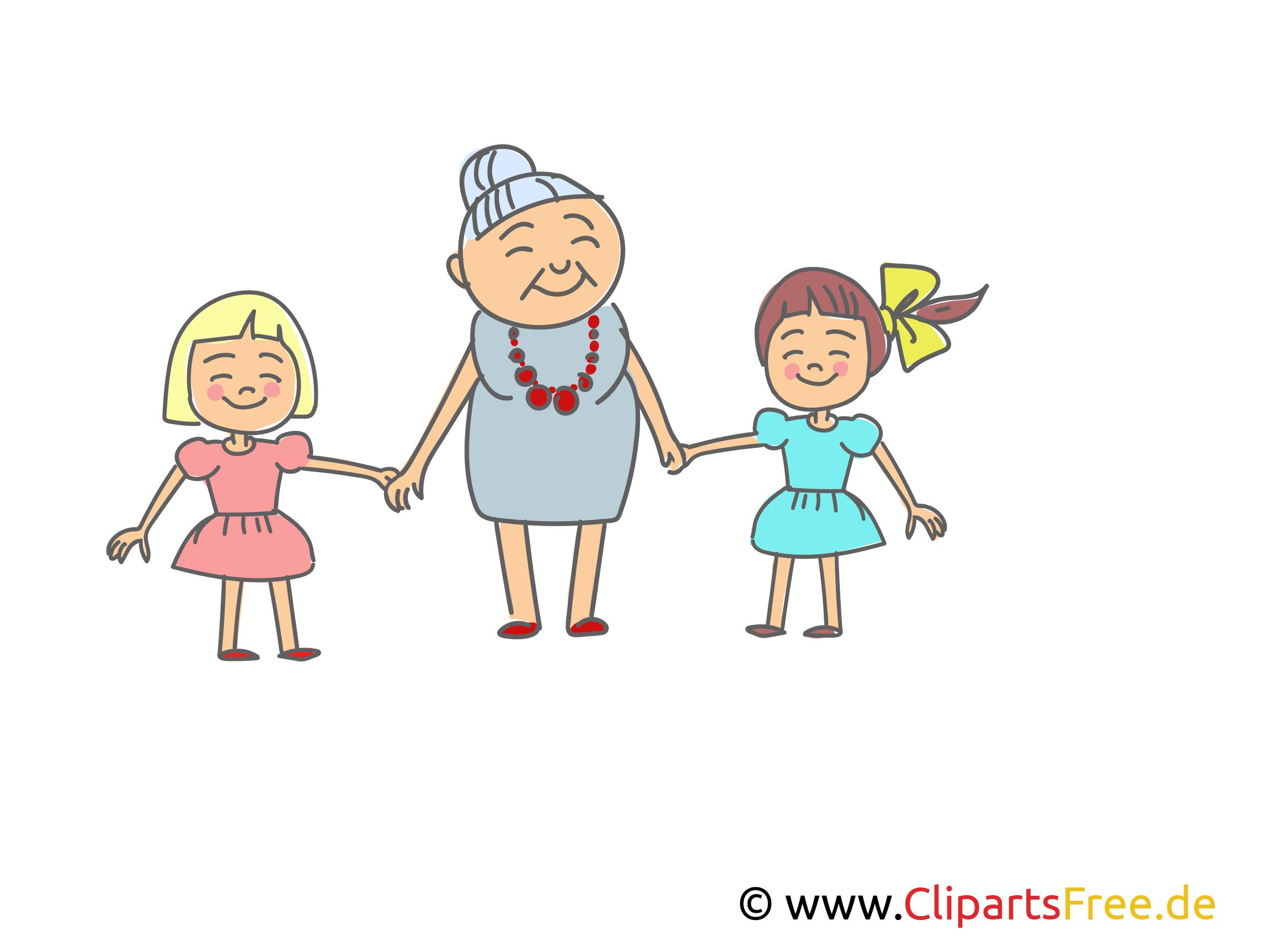 Oma mit Enkelkindern Clipart, Bild, Illustration