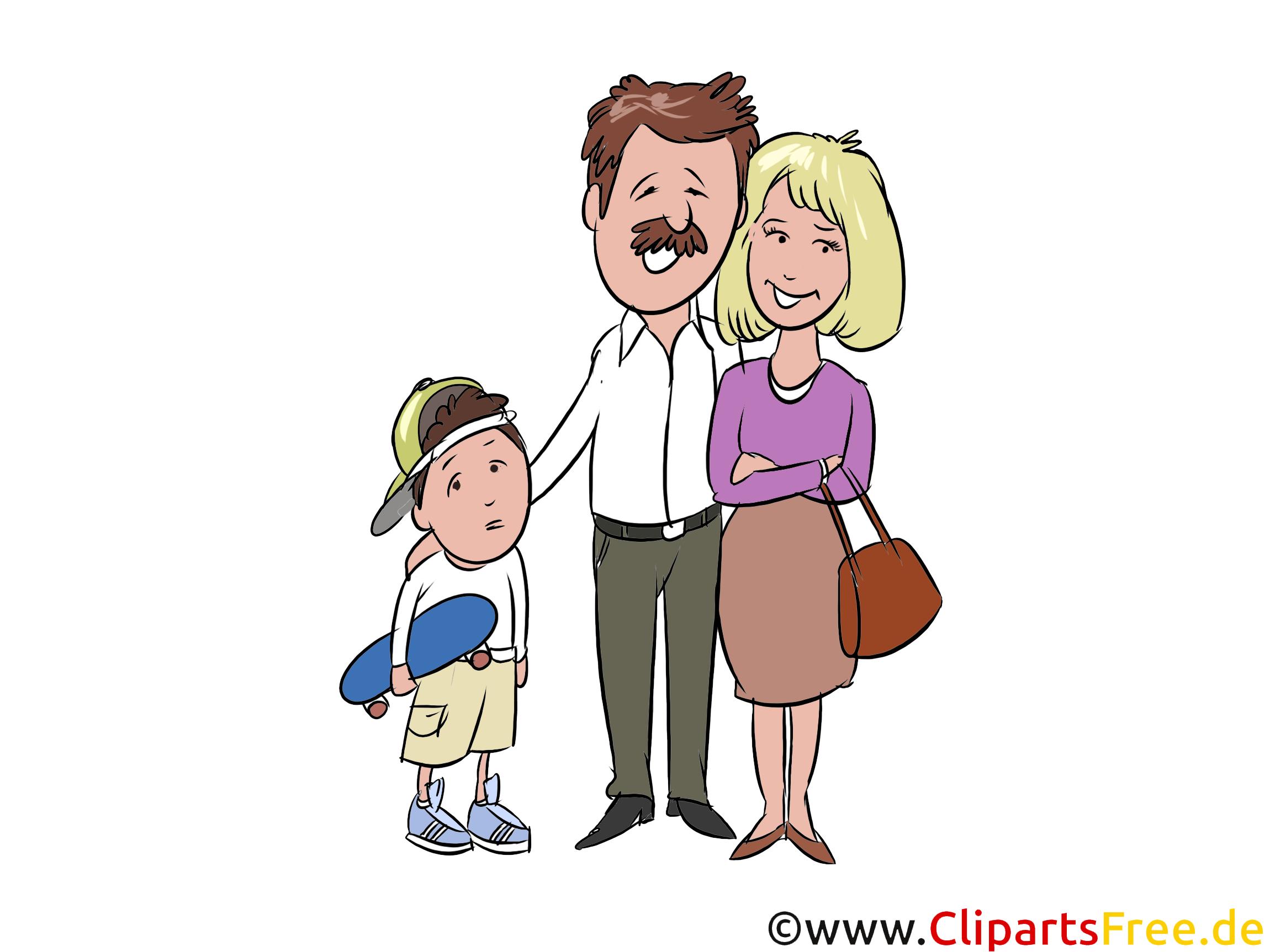Papa, Mama, Sohn, Familie Clip Art, Illustration, Grafik