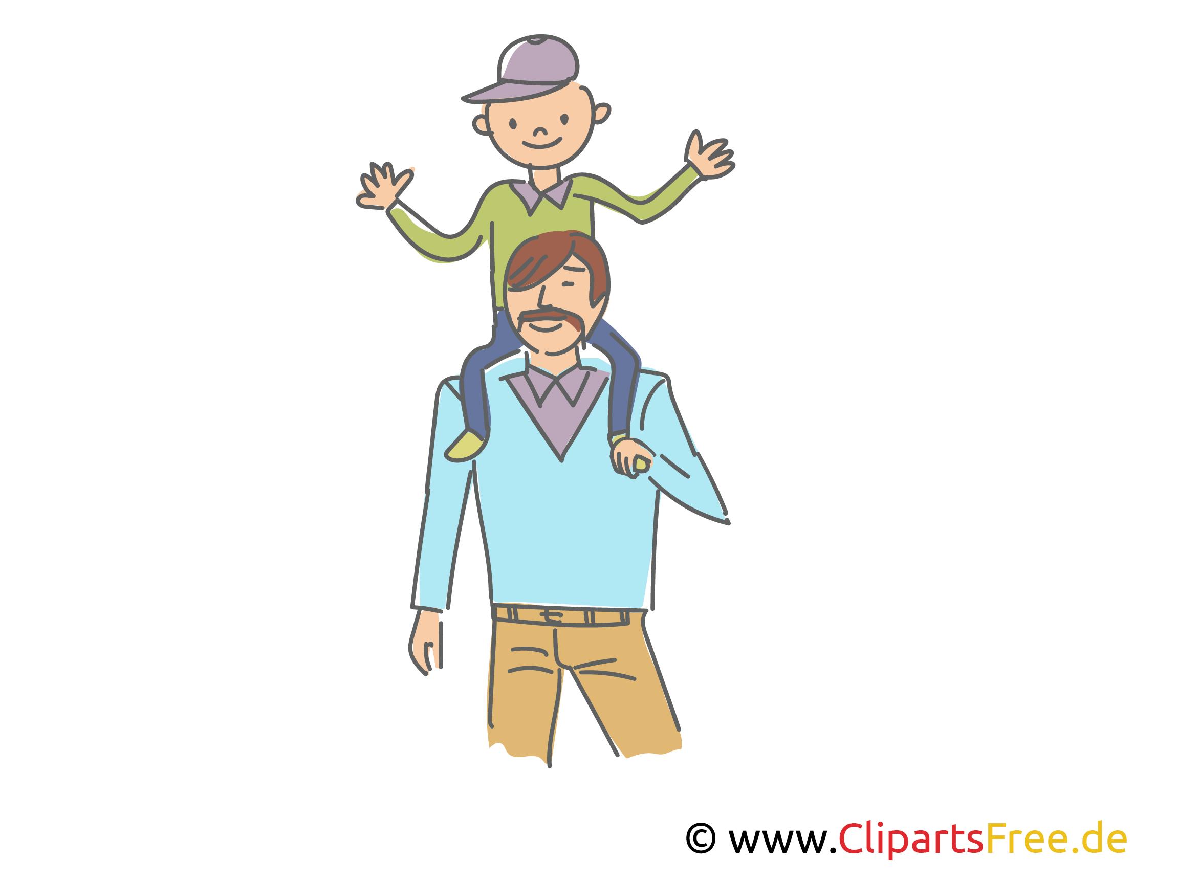 Vater trägt den Sohn auf Schultern Clipart, Illustration, Bild