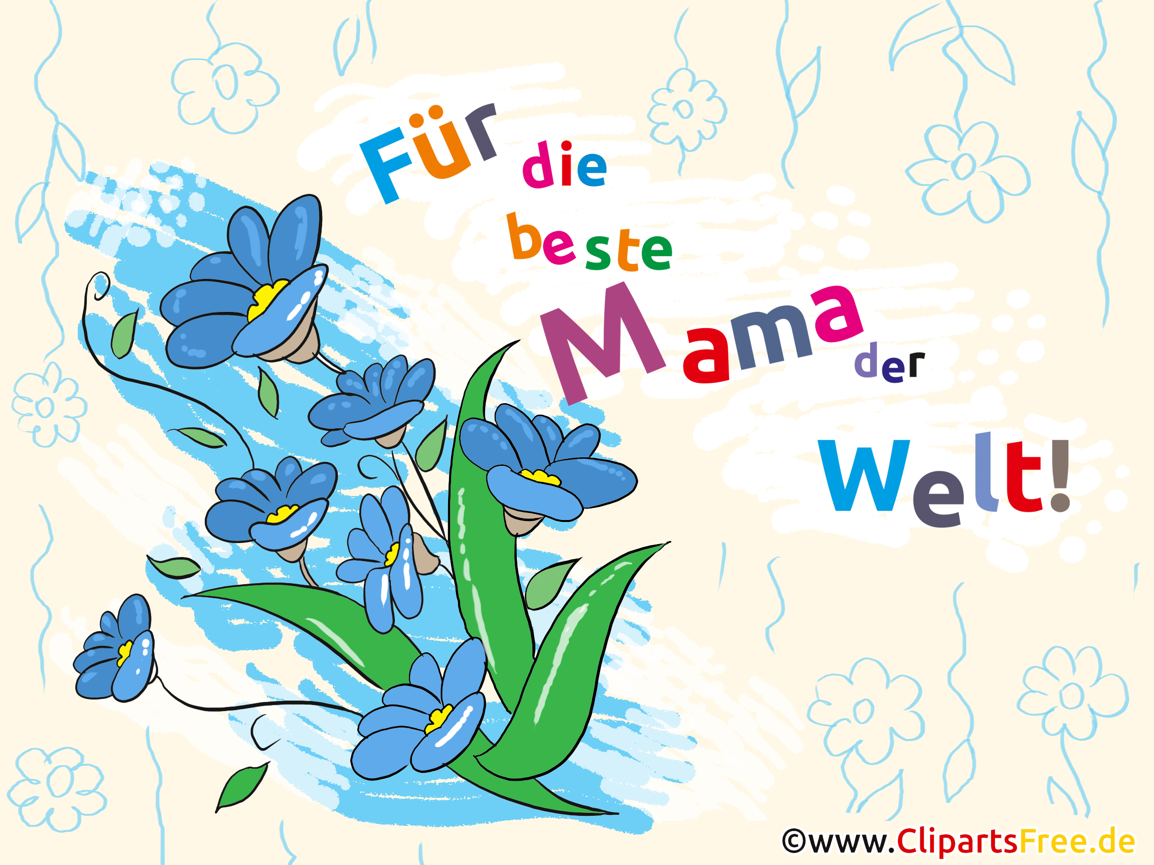 Muttertag Clipart, Bild, Illustration, Karte