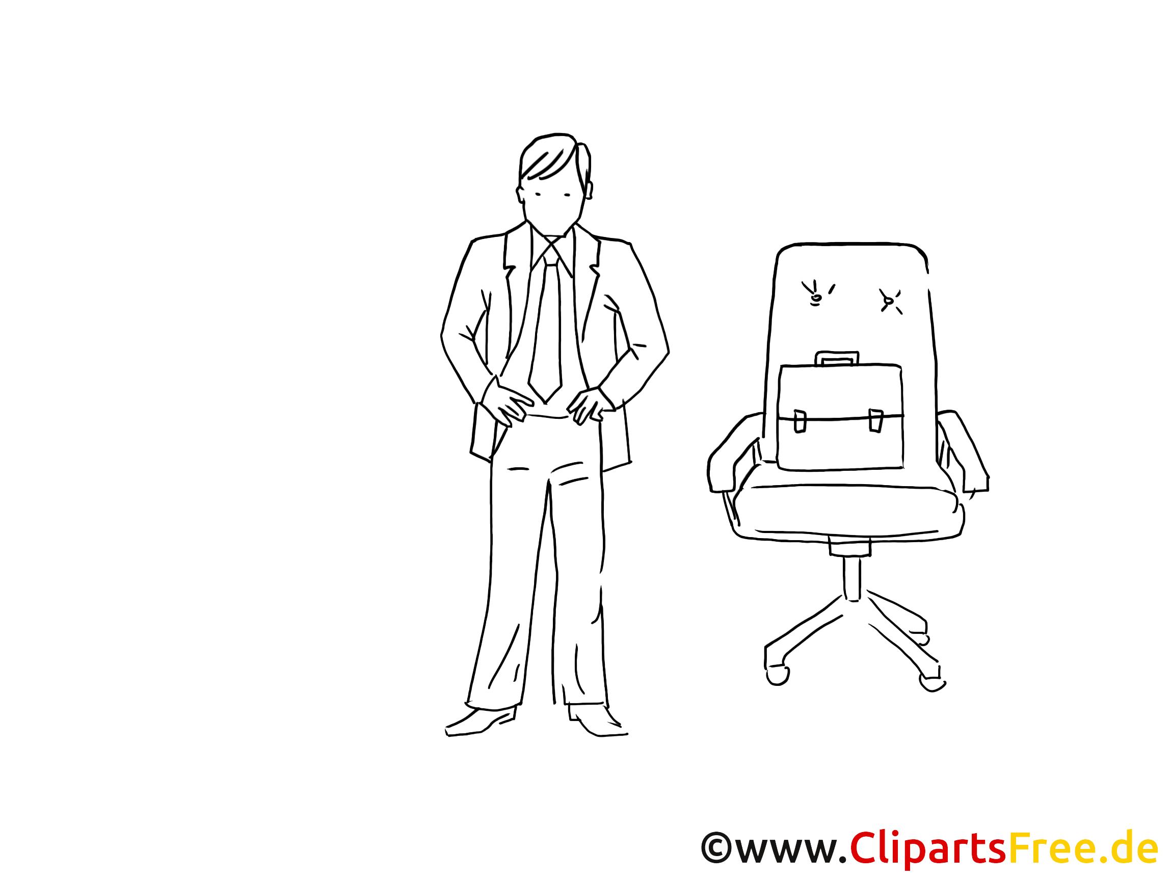 Chef, Mann, Boss Cliparts schwarz-weiss
