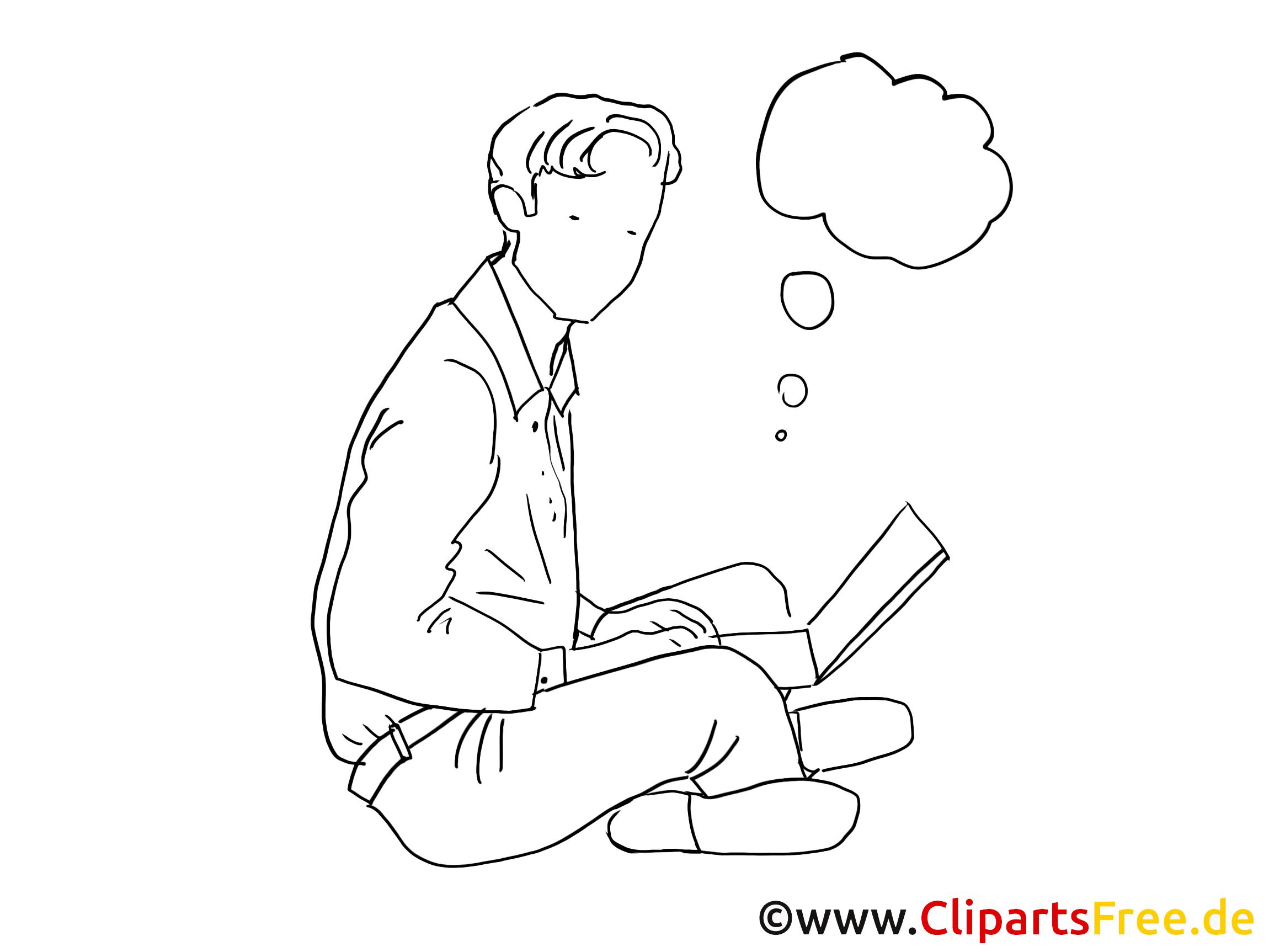 Cliparts schwarz-weiss Mann mit Laptop