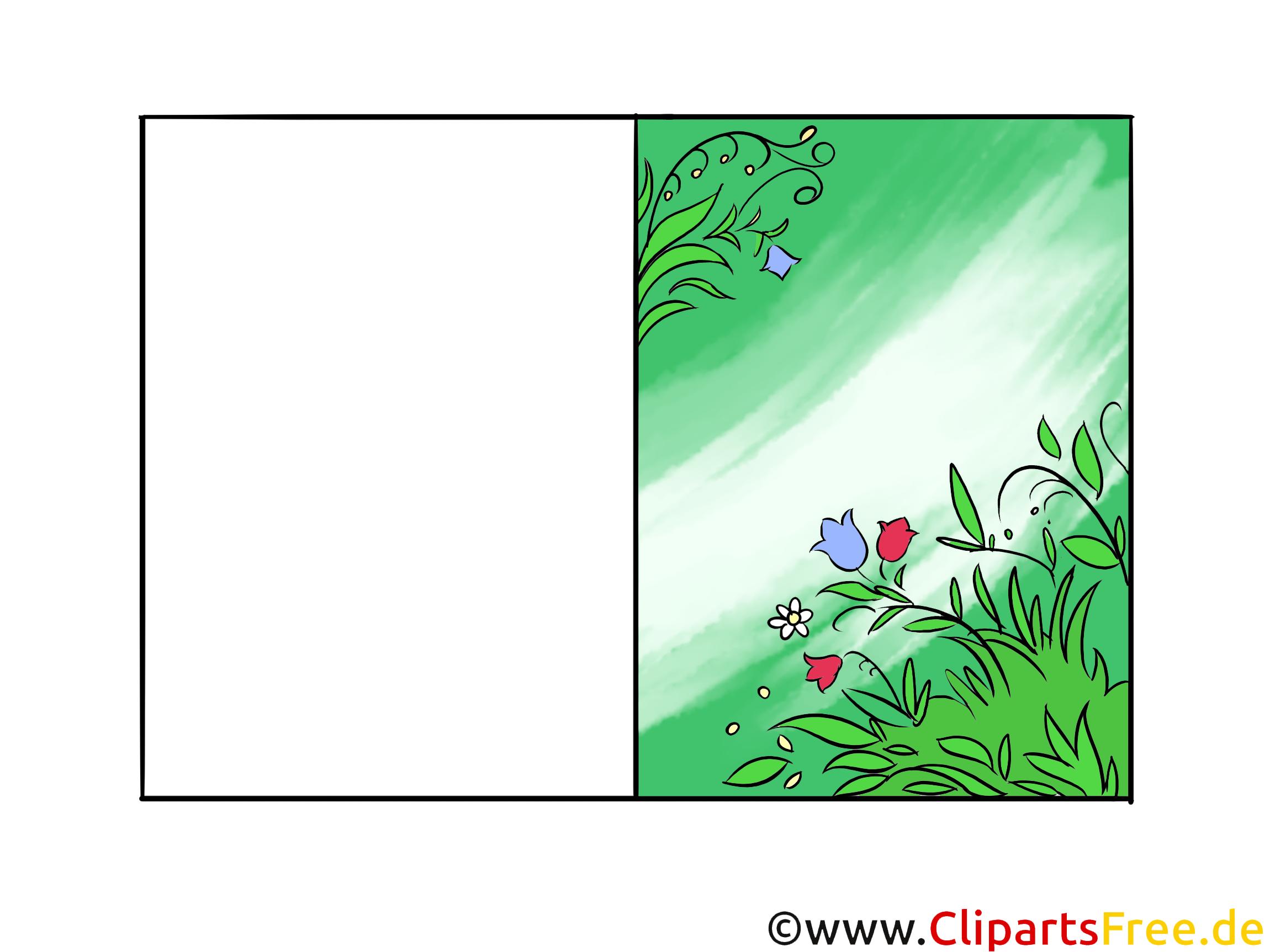 Clipart kostenlos Ostern - Doppelkarte zum Drucken