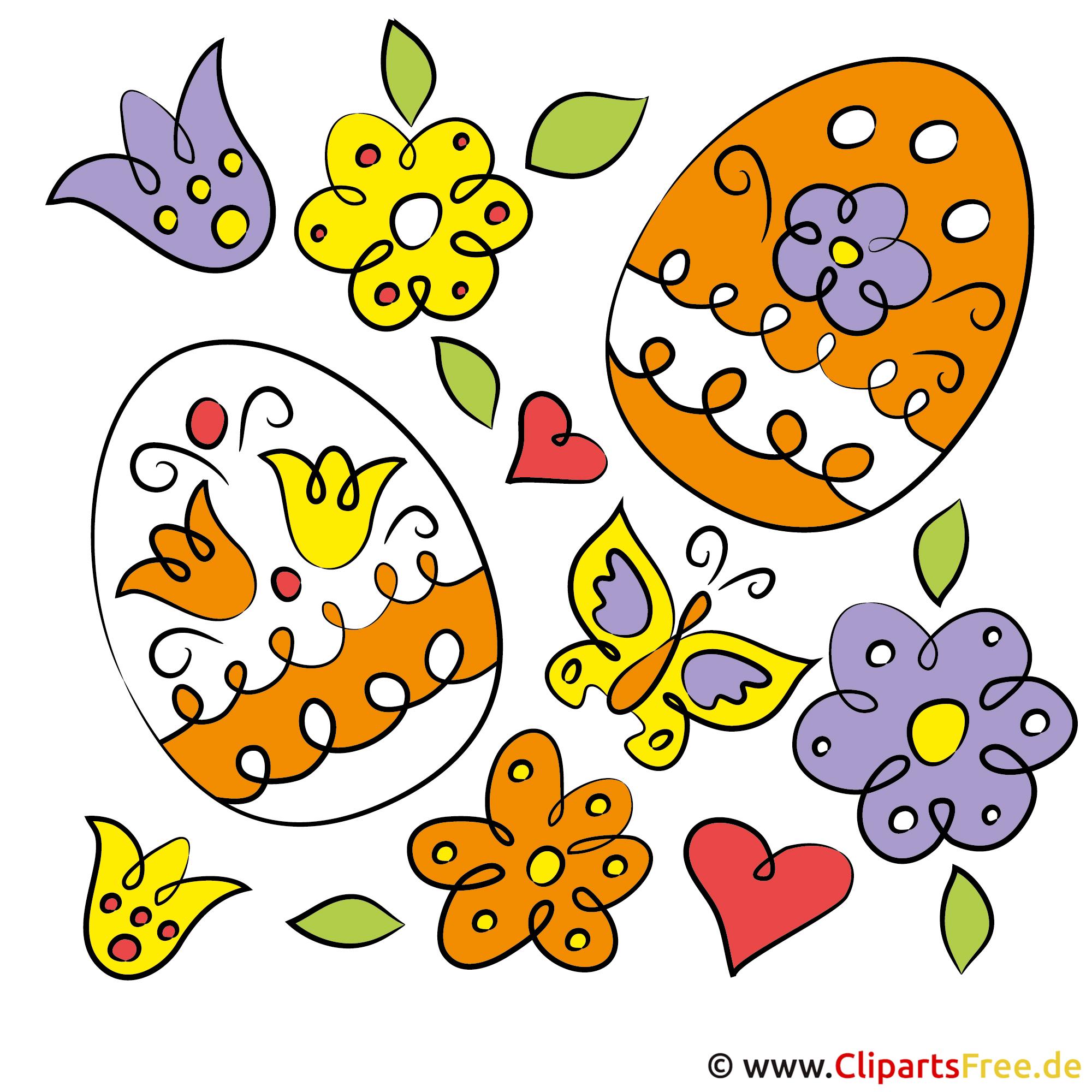 Osterbild Eier und Blumen